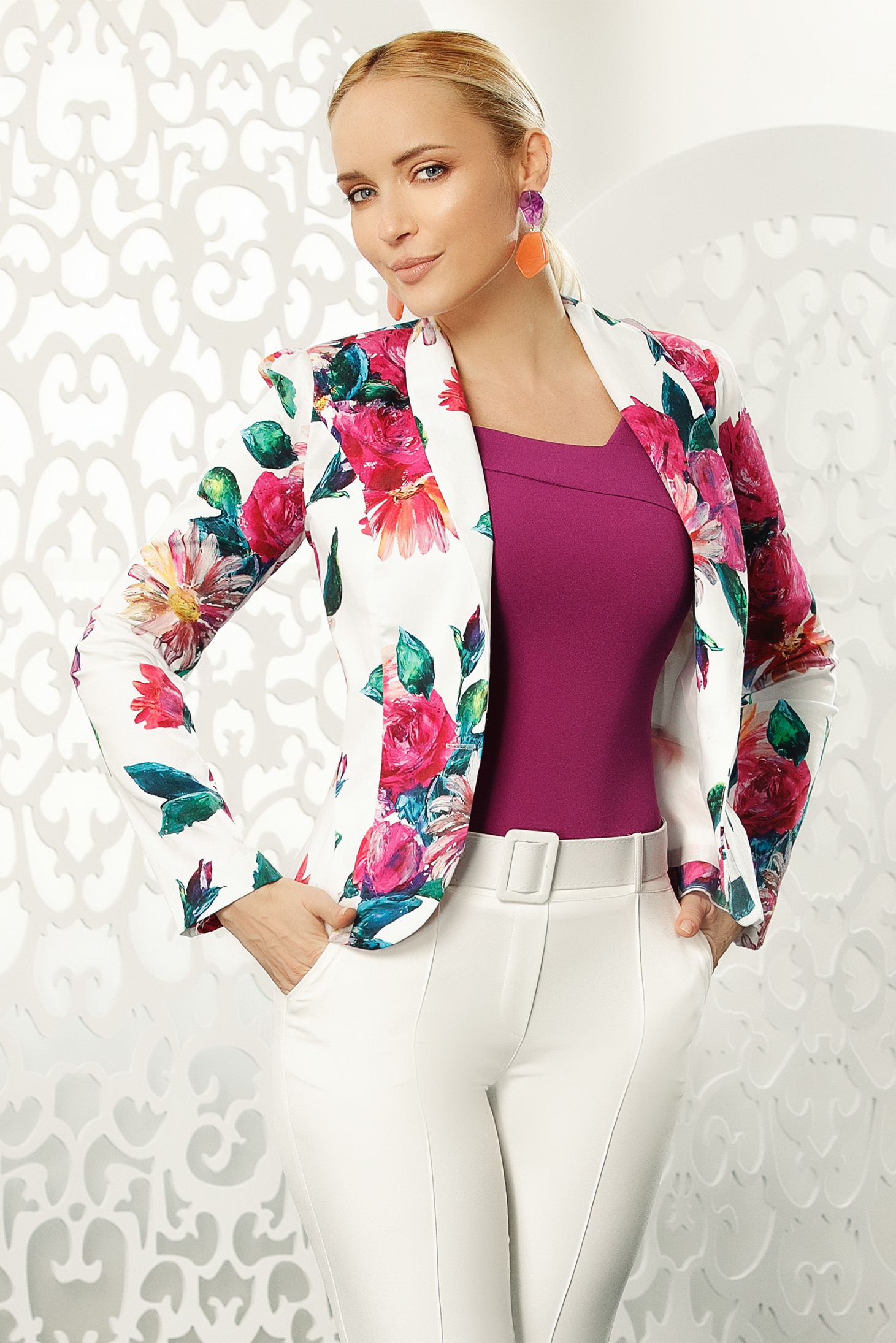 Pink office blazer tented jacket long sleeve slightly elastic cotton with floral print