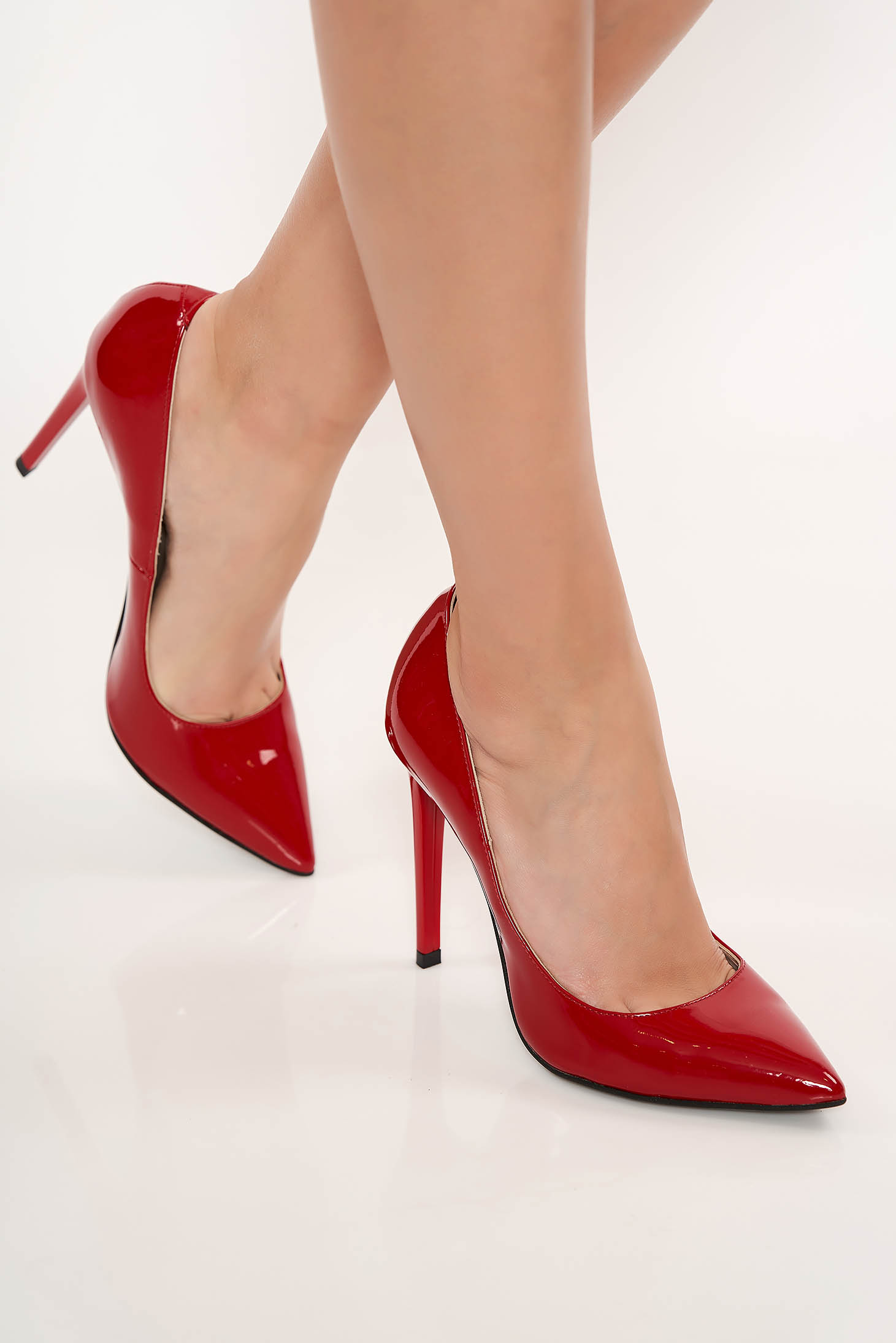 Pantofi rosi stiletto elegant din piele naturala cu toc inalt