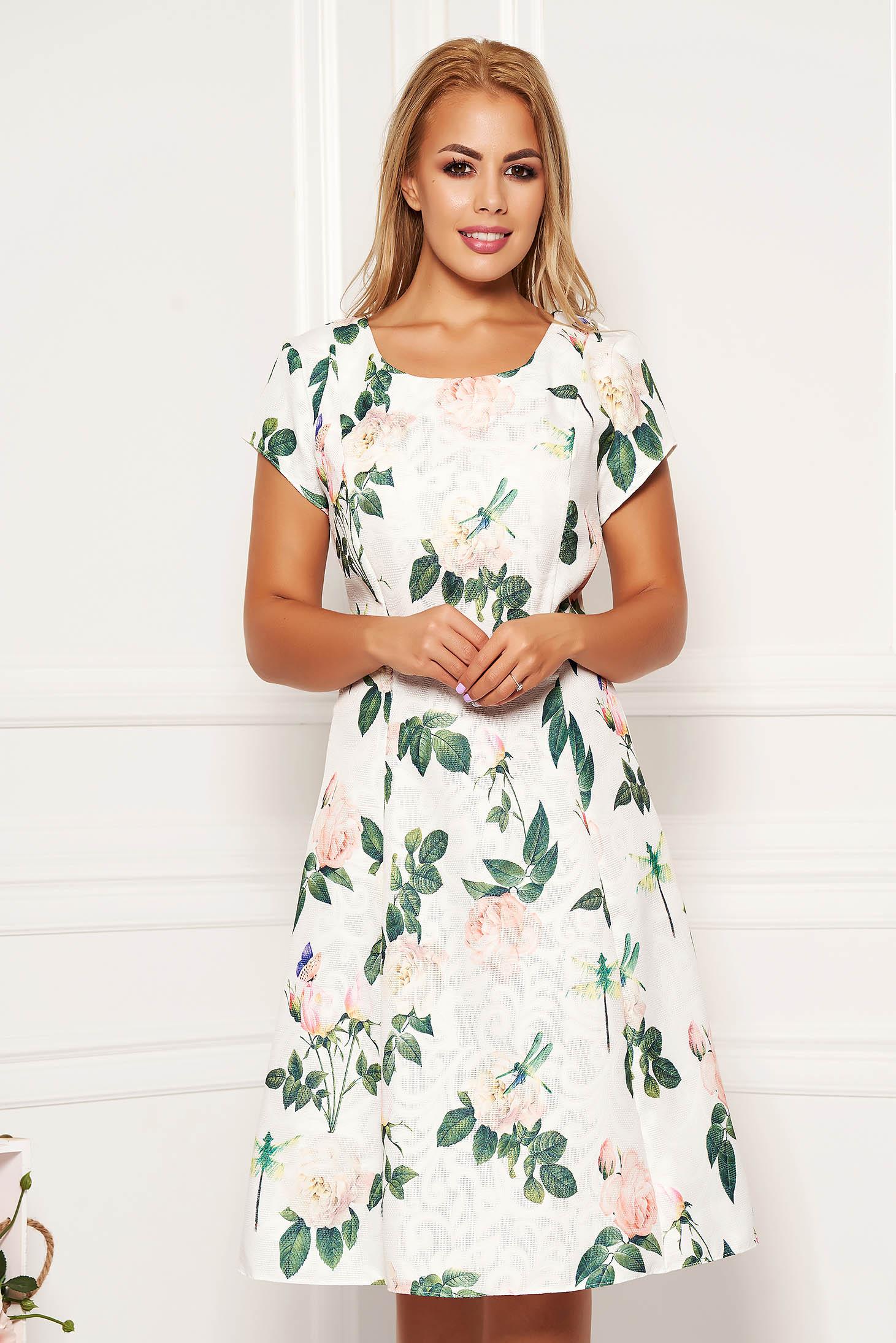 Rochie alba midi de zi in clos din bumbac cu imprimeu floral cu maneci scurte fara captuseala