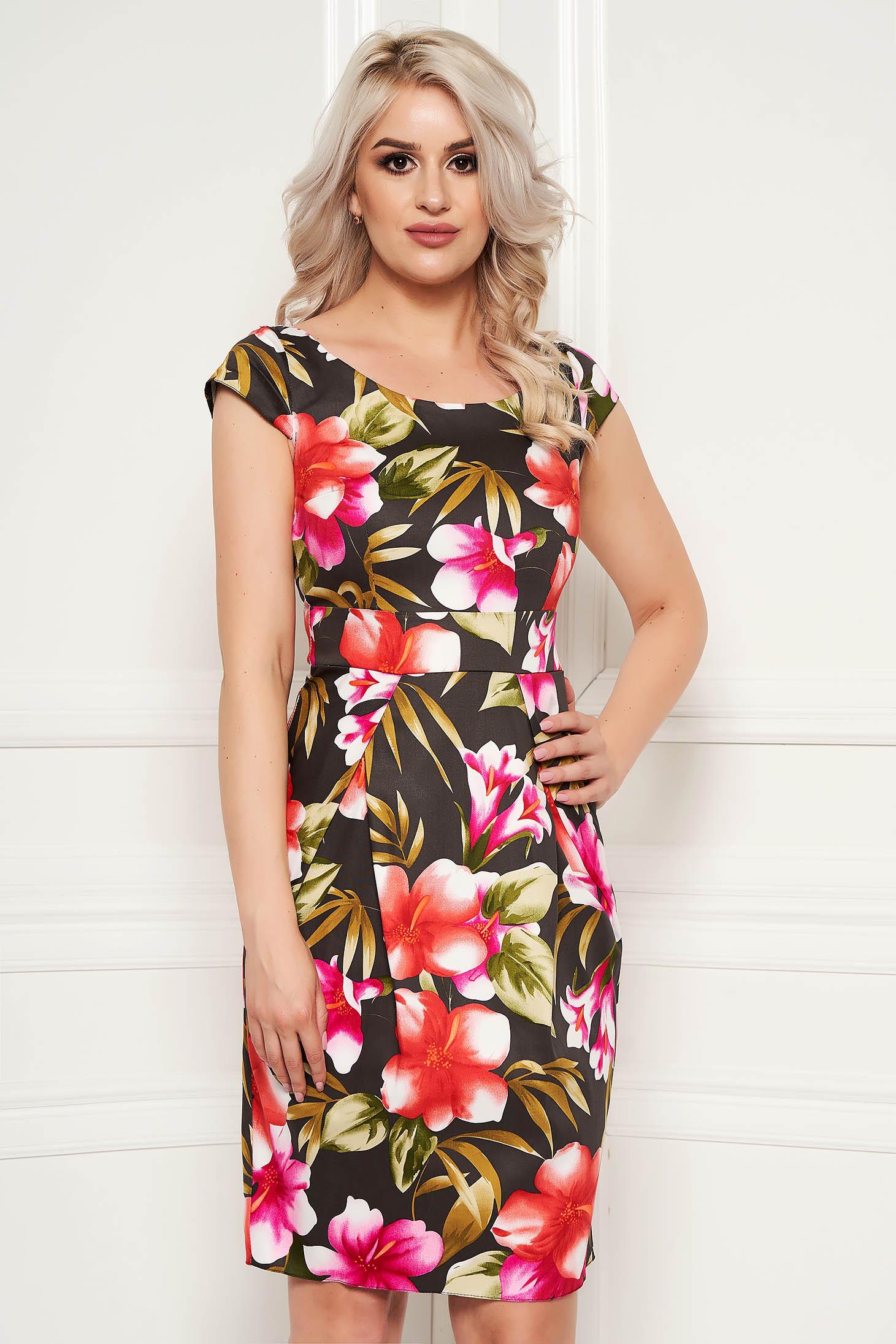 Rochie khaki eleganta midi tip creion din bumbac cu maneca scurta si imprimeuri florale