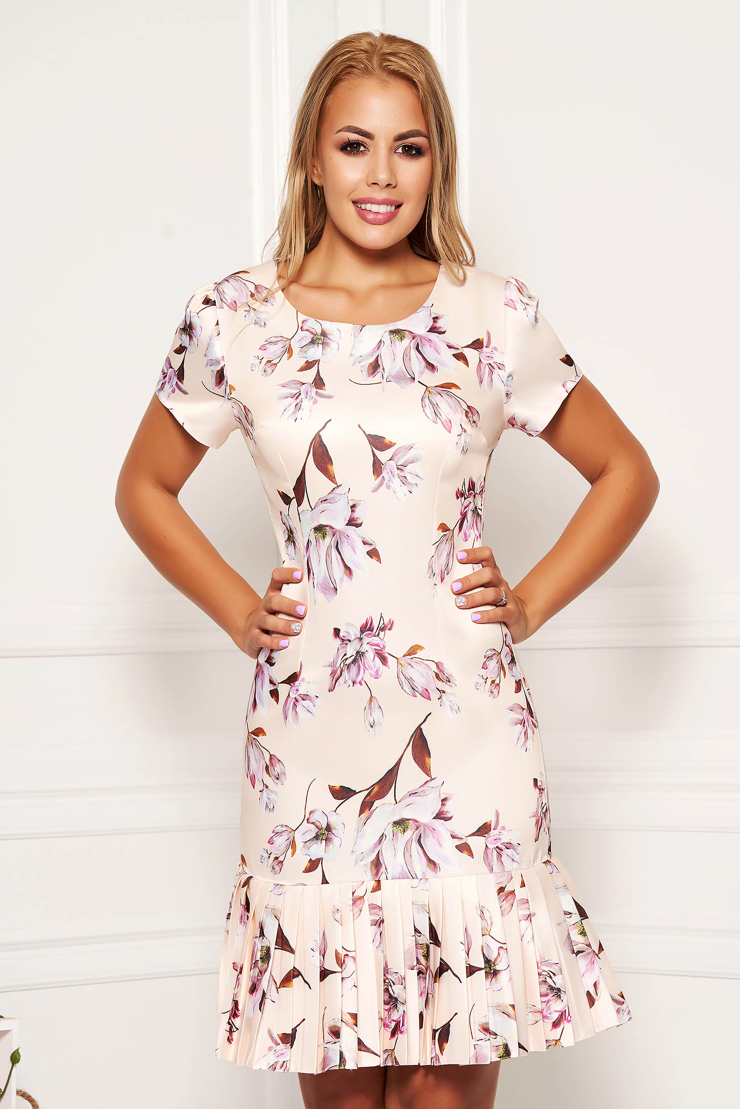 Cream elegant daily a-line dress short sleeves nonelastic fabric with floral print