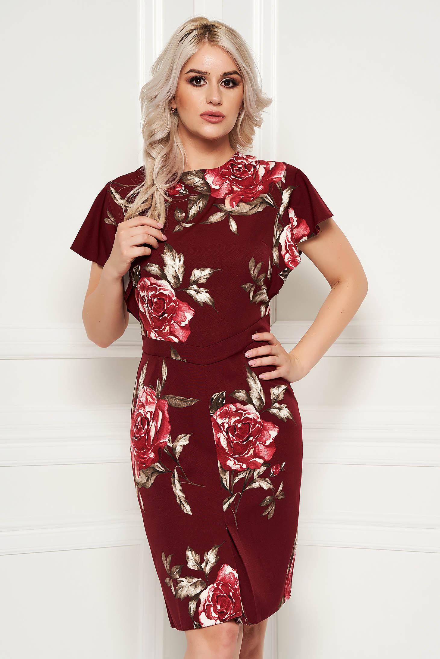 b3be5496020e6 Burgundy elegant pencil dress short sleeve soft fabric with floral prints