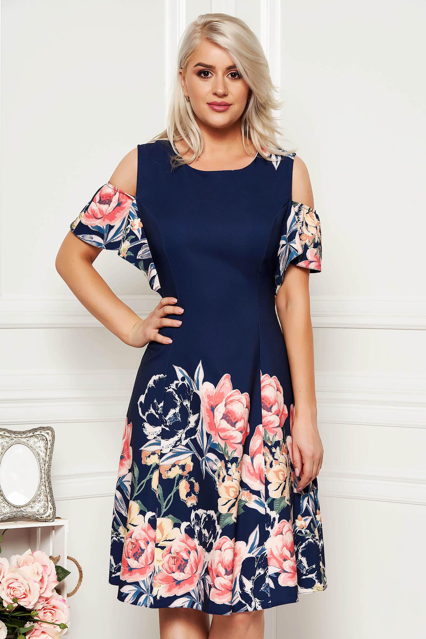 Darkblue dress elegant cloche midi with floral print both shoulders cut out neckline