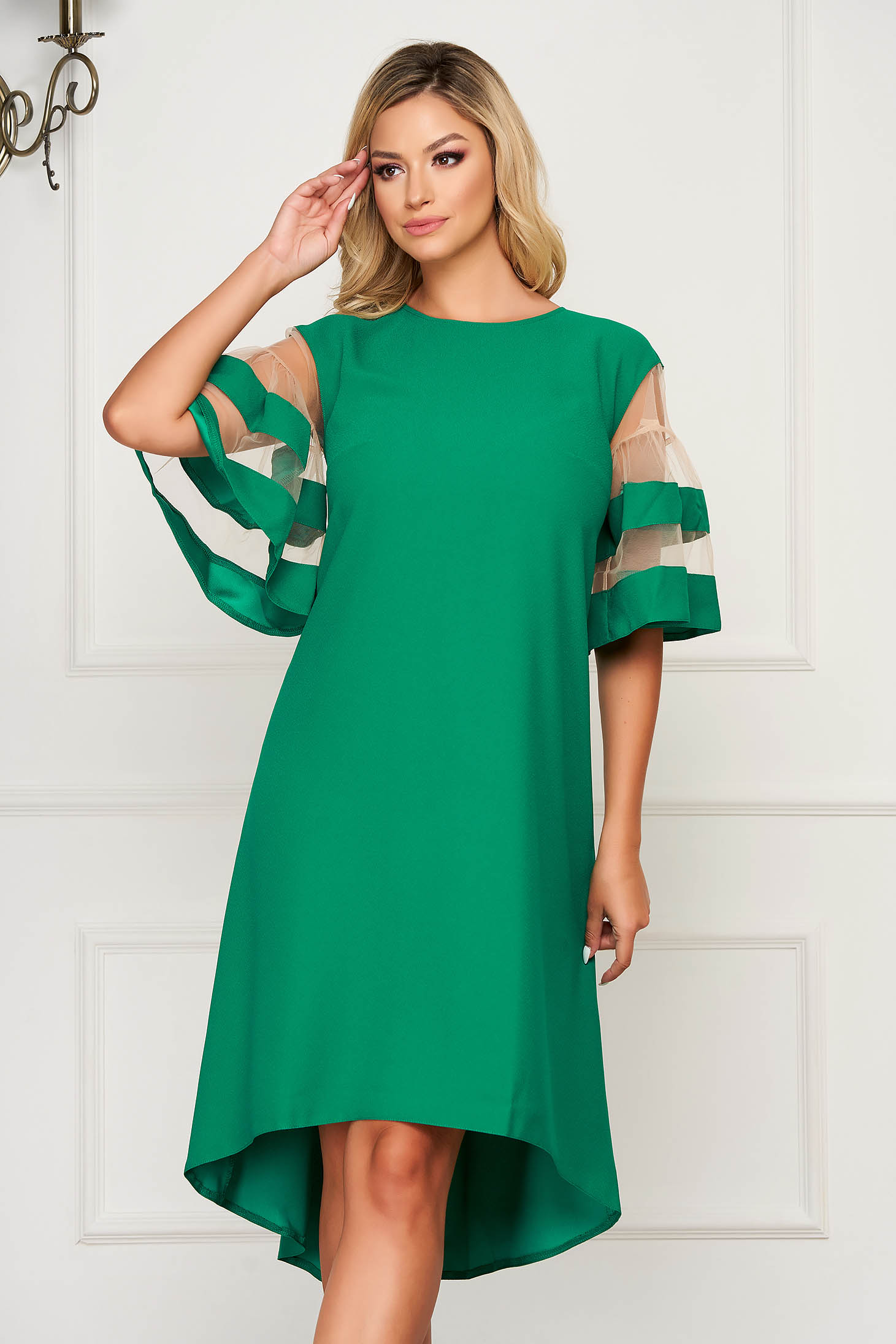 Green elegant flared asymmetrical dress thin fabric short sleeves