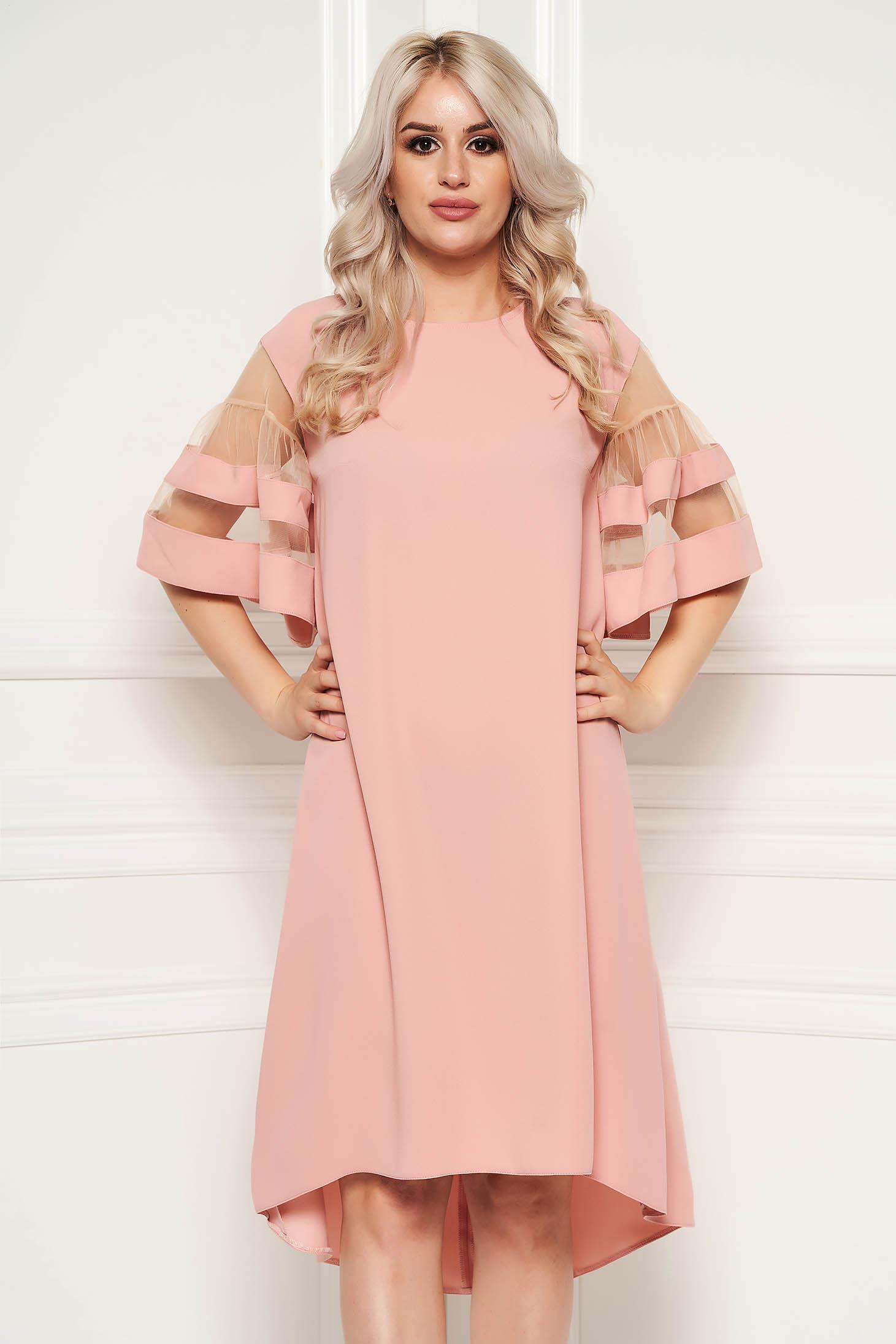 Rochie roz prafuit eleganta asimetrica cu croi larg din material subtire cu maneci scurte