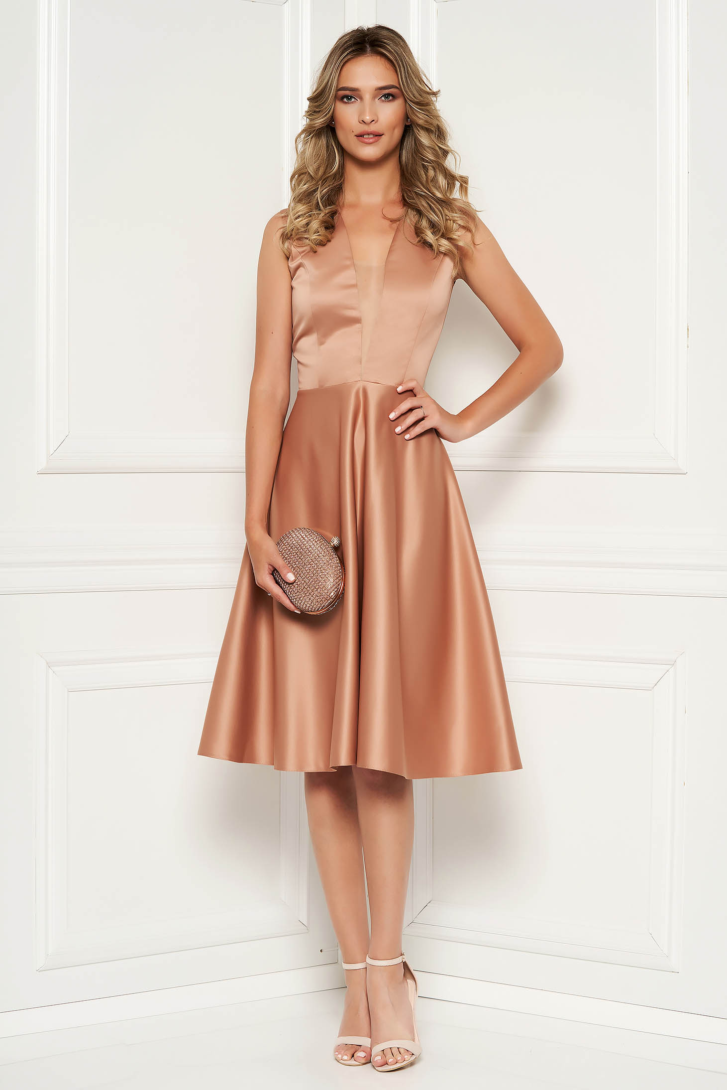 Cappuccino occasional asymmetrical cloche dress with deep cleavage from satin