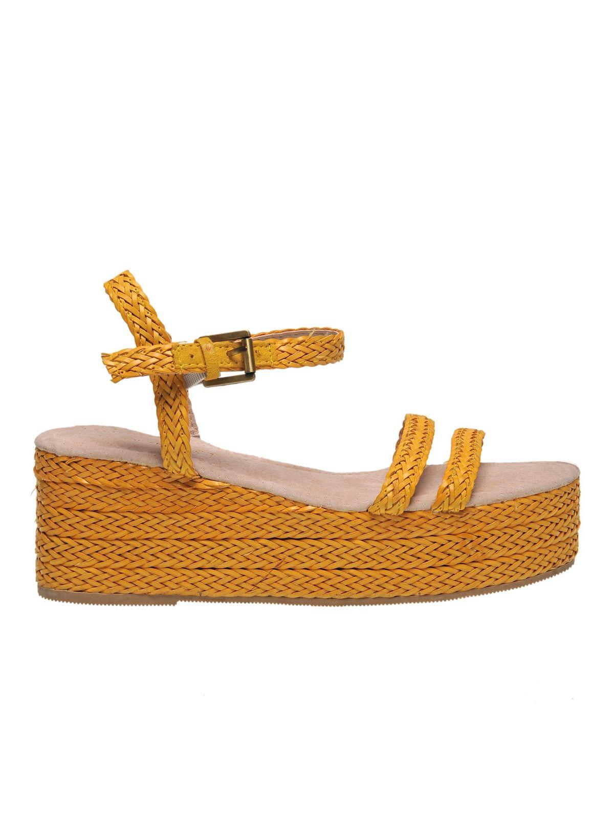 Sandale Top Secret galbene casual din material impletit din piele ecologica