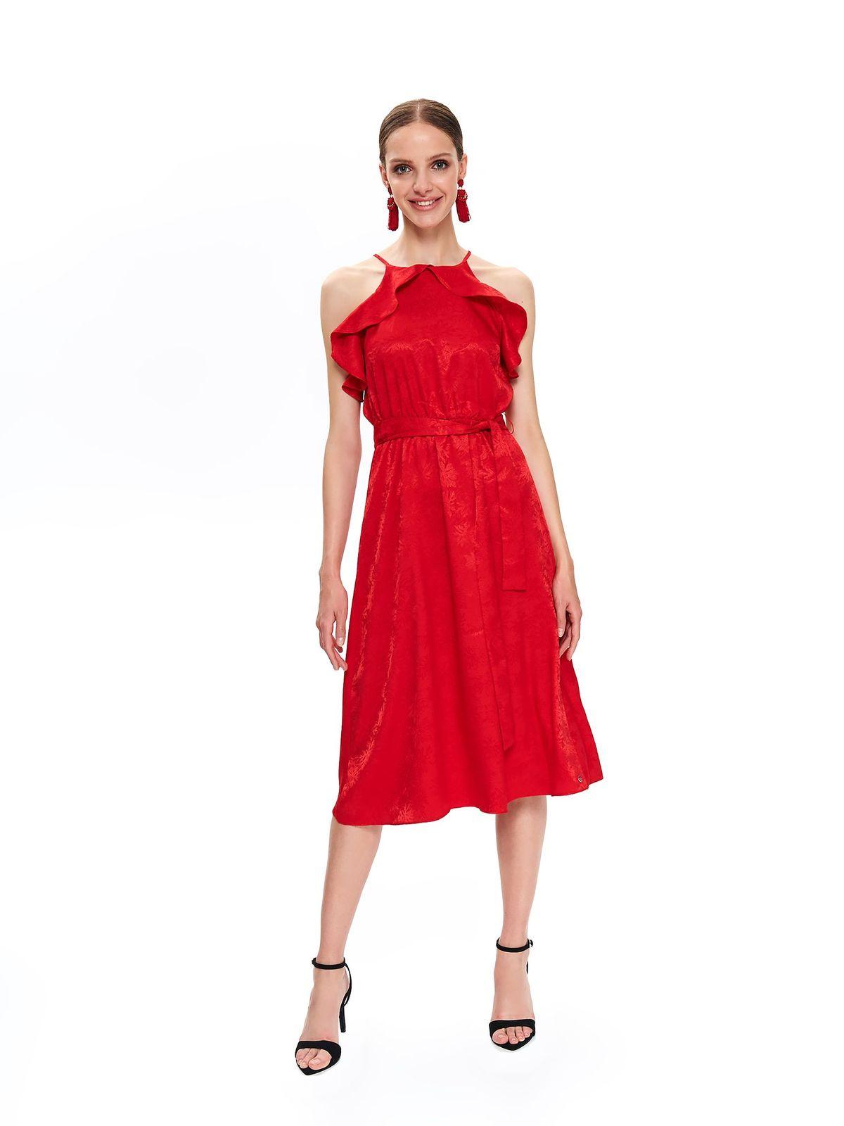 Rochie Top Secret rosie midi in clos din material subtire cu volanase accesorizata cu cordon
