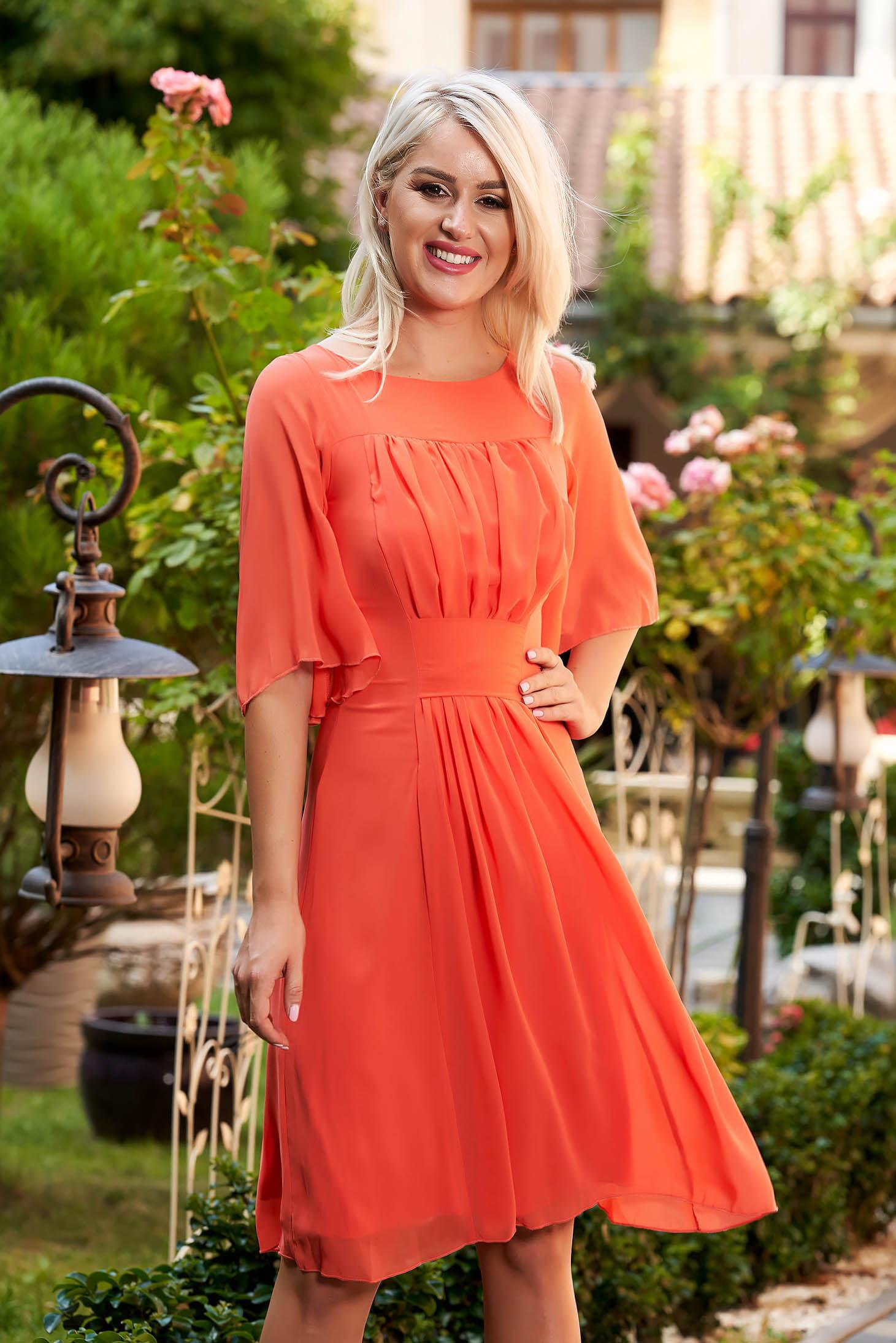 Rochie portocalie eleganta midi de zi din voal in clos captusita pe interior cu maneci clopot