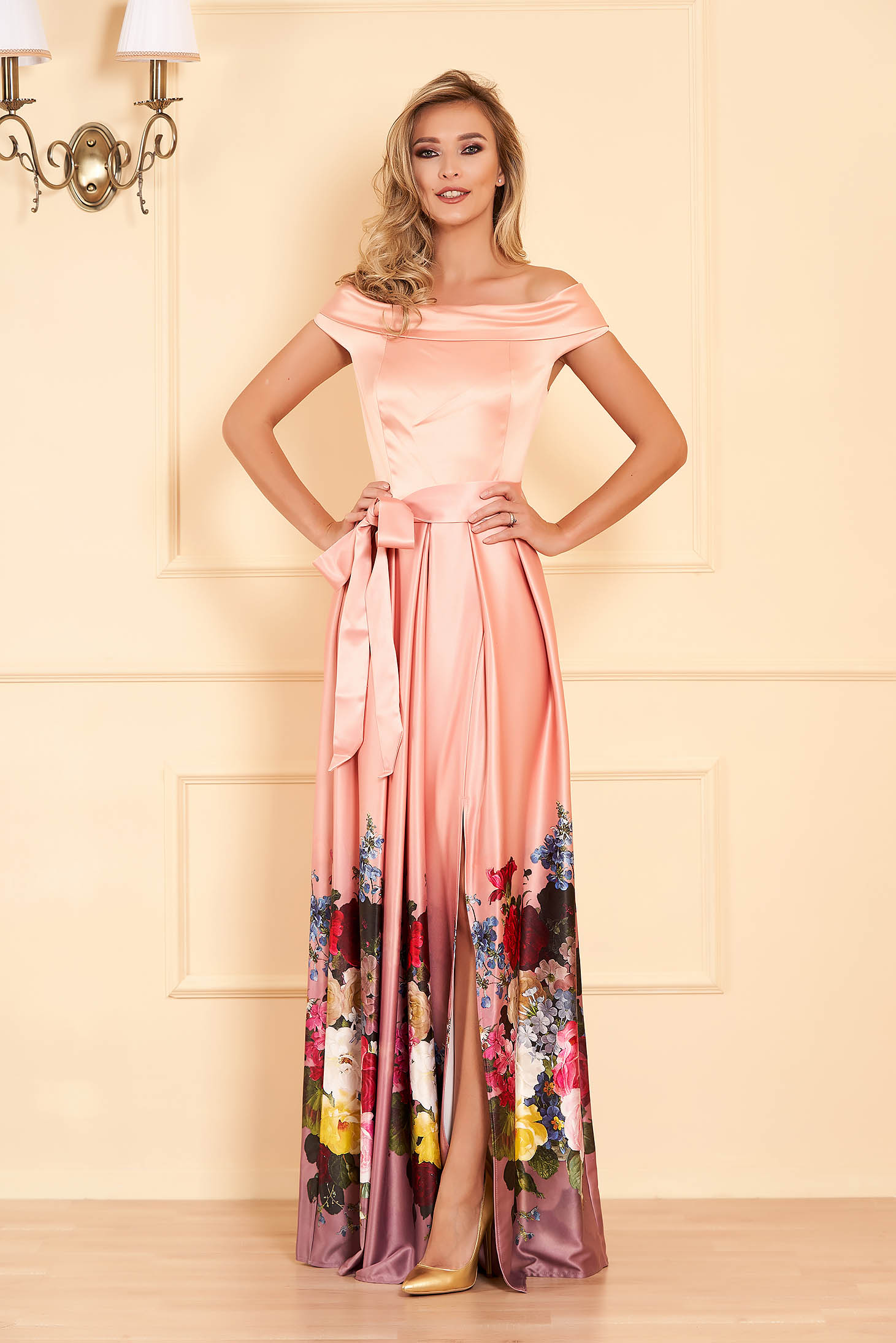 Peach occasional cloche dress from satin fabric texture with floral print off-shoulder
