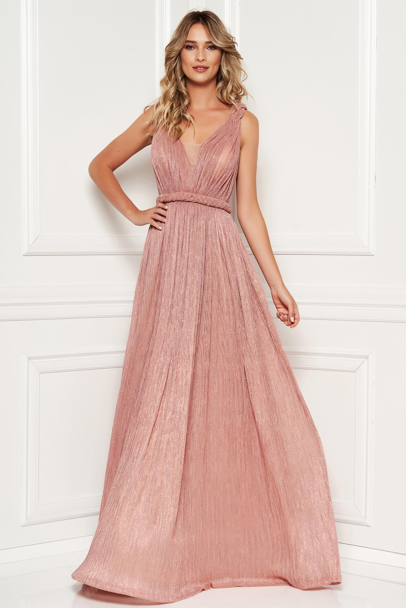 7430e40dbd Világos rózsaszín alkalmi harang ruha mellrésznél szivacsos v-dekoltázzsal  strassz köves díszítéssel