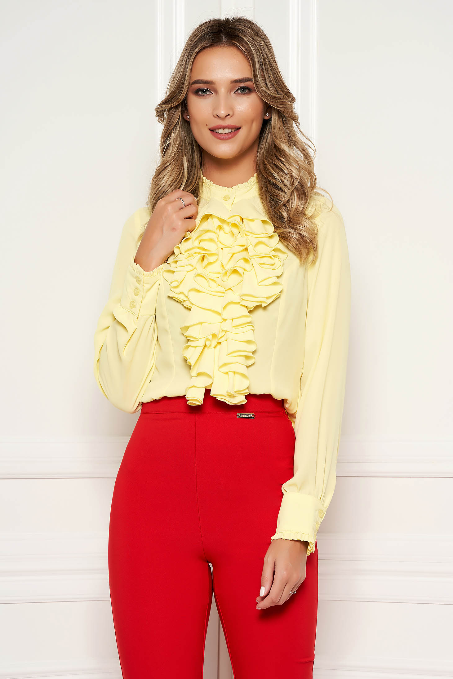 Bluza dama StarShinerS galbena office cu volanase din material vaporos si transparent guler inalt