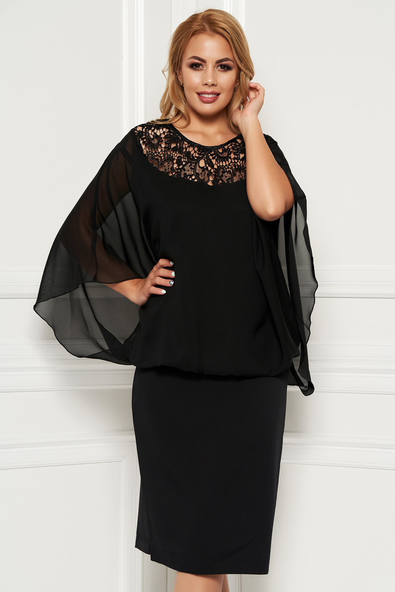 Black occasional midi dress non-flexible thin fabric voile overlay with lace details