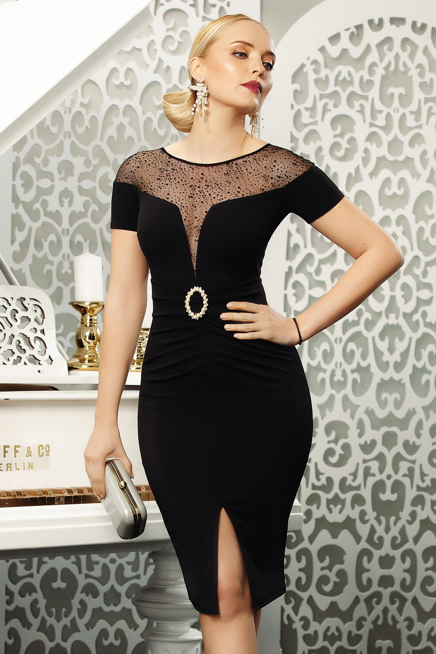 Rochie Fofy neagra eleganta midi de ocazie tip creion din stretch cu slit frontal si umeri din plasa cu accesoriu tip curea