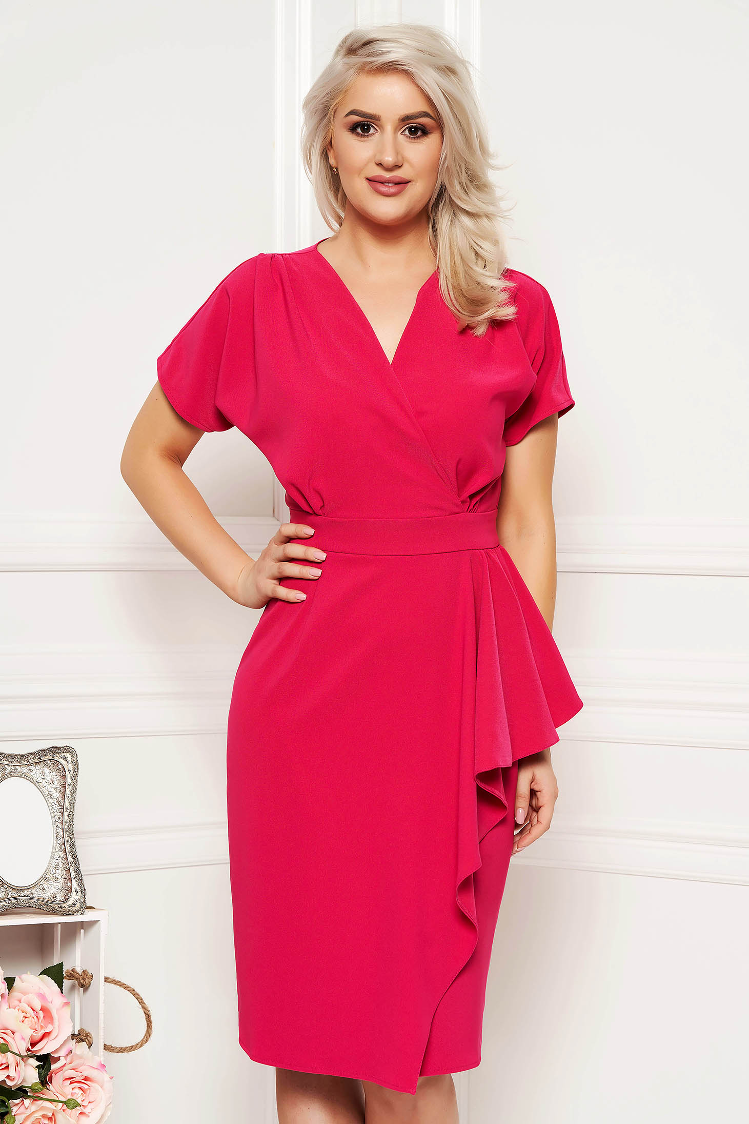 Fuchsia dress elegant midi cut material with v-neckline cloth pencil with ruffle details