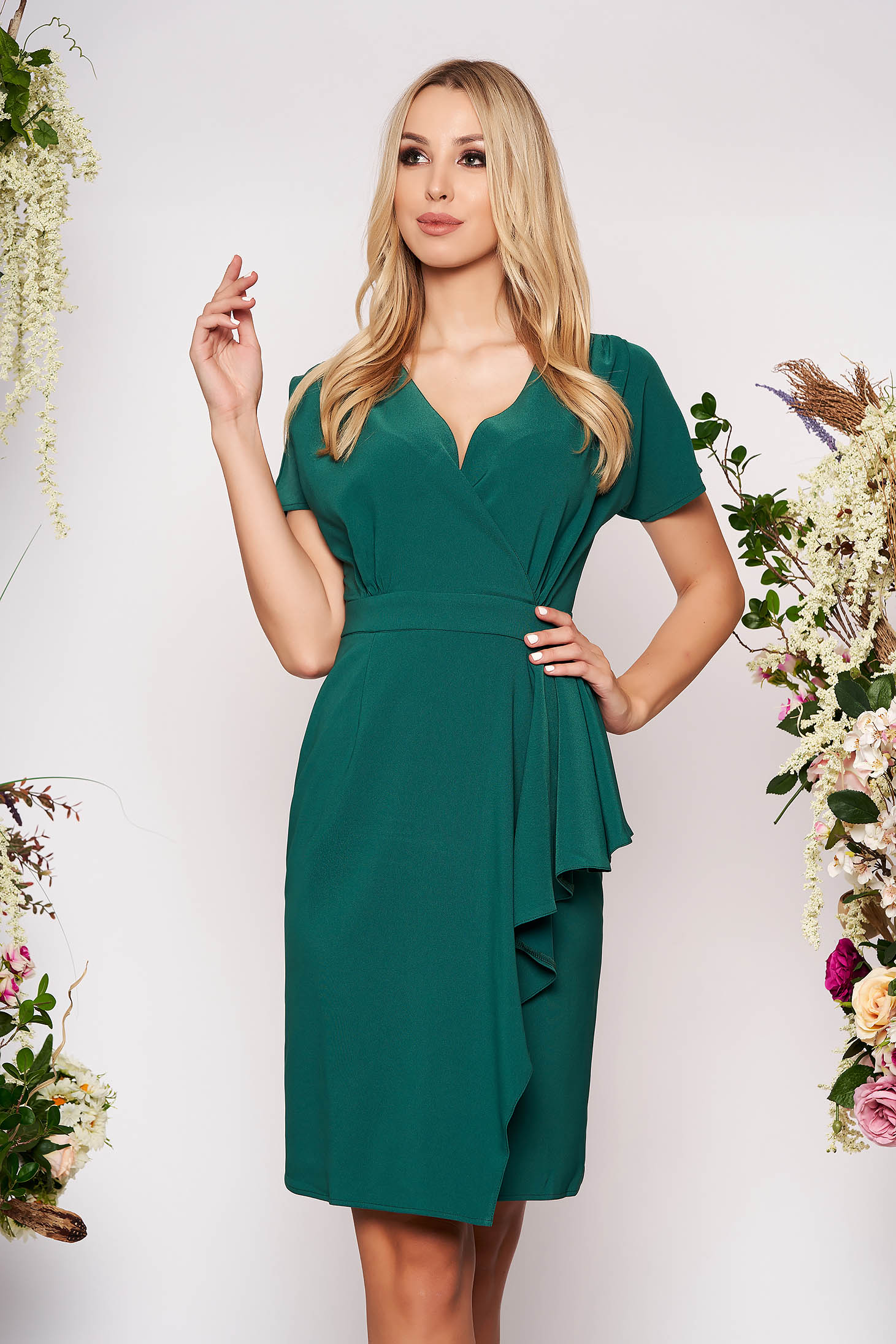 Green dress elegant midi cut material with v-neckline cloth pencil with ruffle details