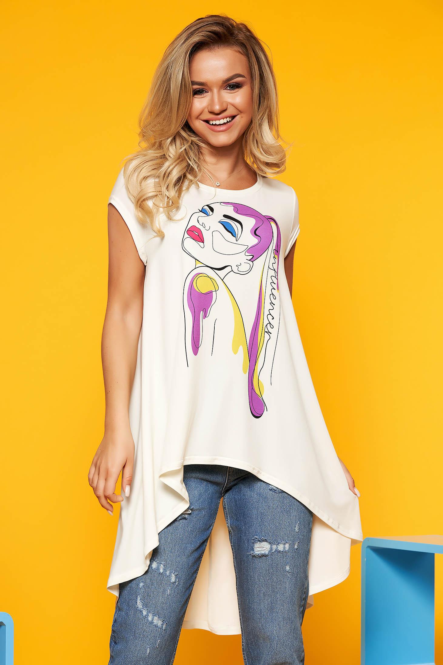 Fehér StarShinerS casual bő szabású aszimetrikus női blúz grafikai díszítéssel rövid ujjú pólónyak