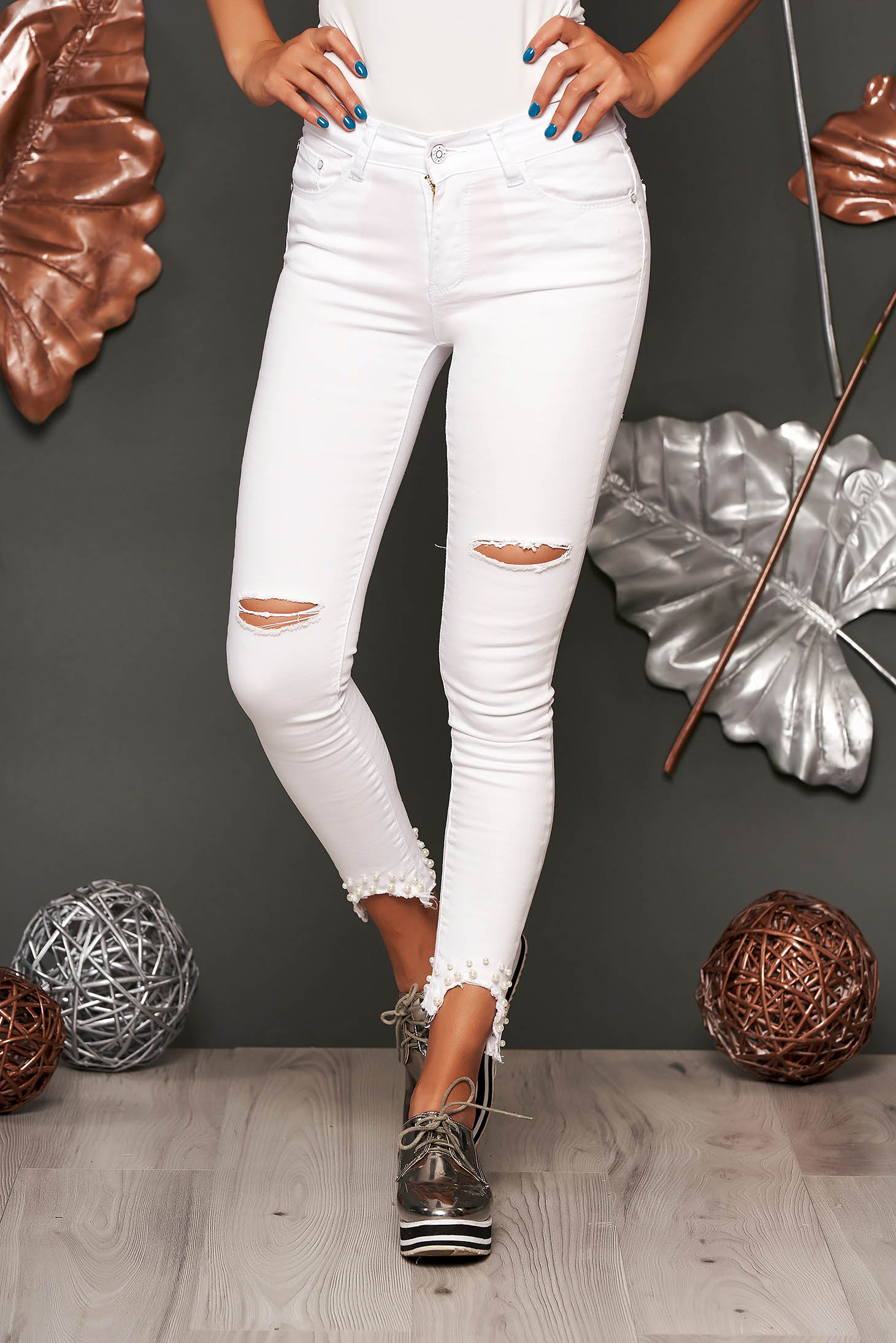 White jeans skinny jeans medium waist denim with ruptures with pearls