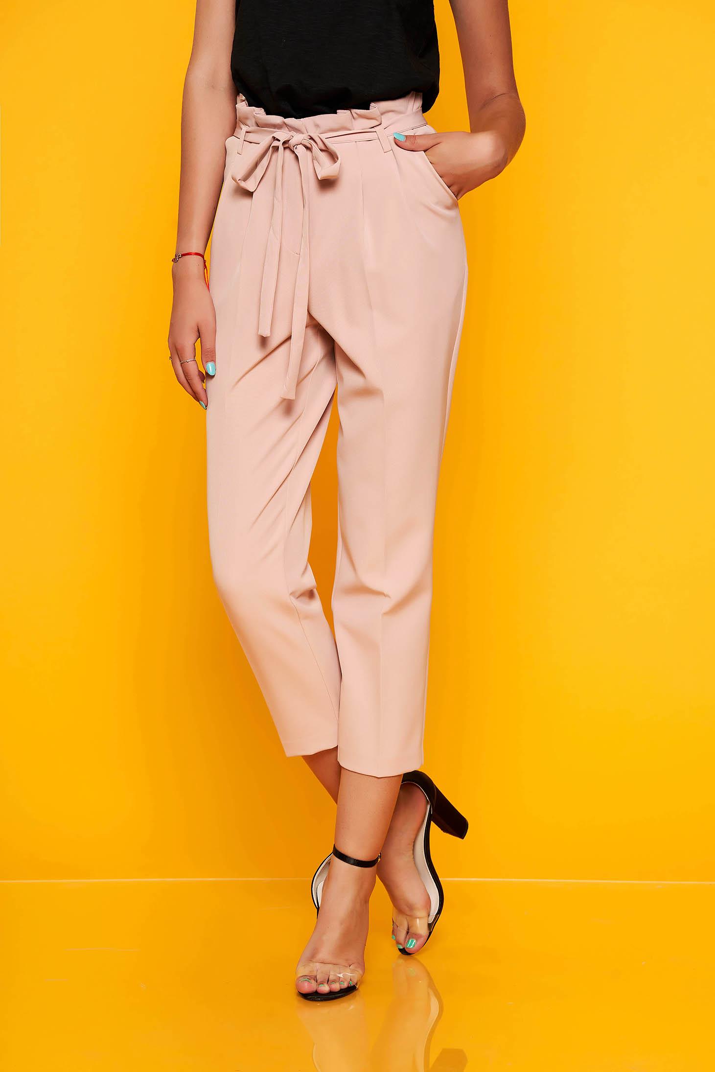 Világos rózsaszín nadrág elegáns szövettel magas derekú eltávolítható öv zsebekkel