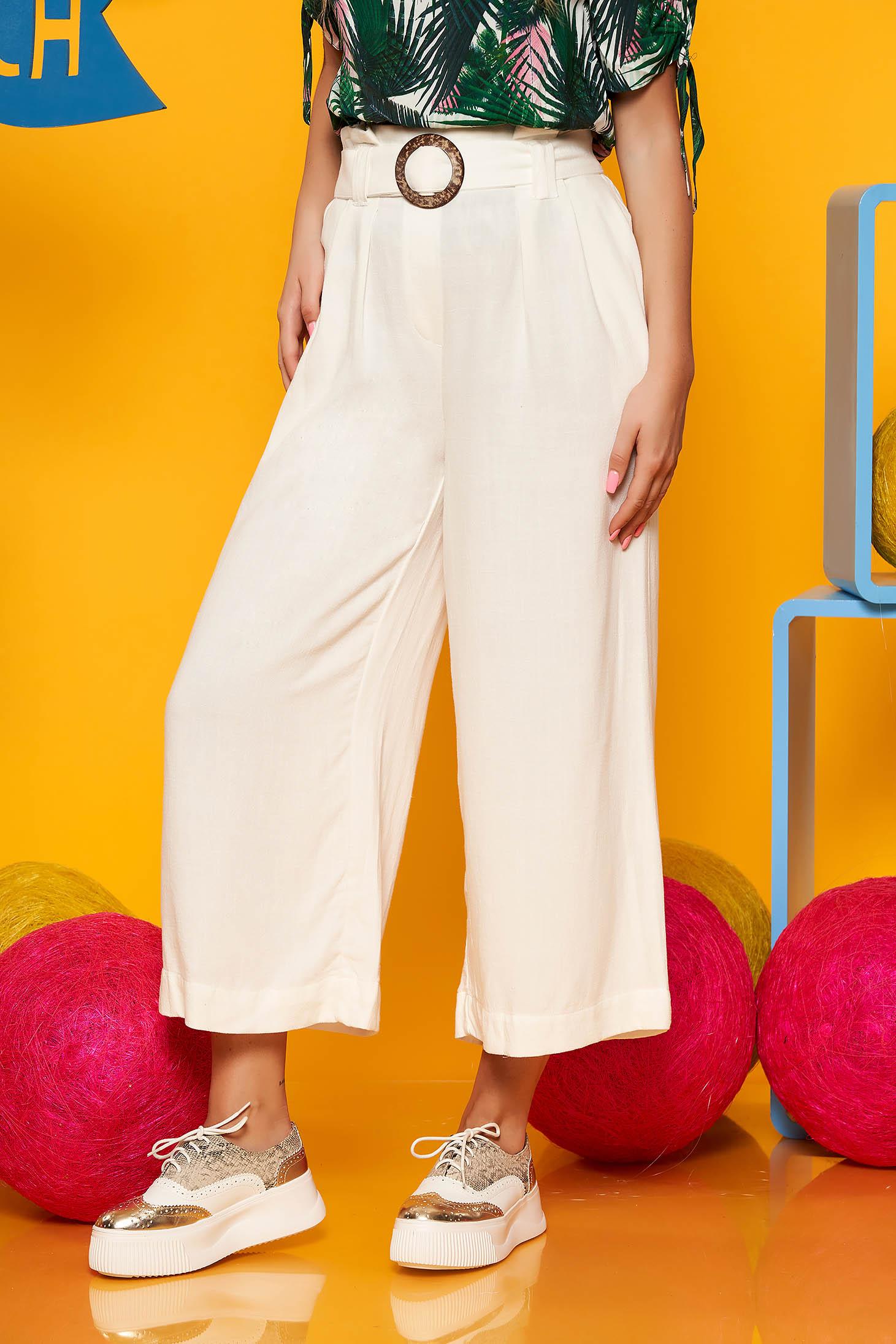 Pantaloni SunShine ivoire casual din in cu un croi drept si talie inalta si cordon detasabil