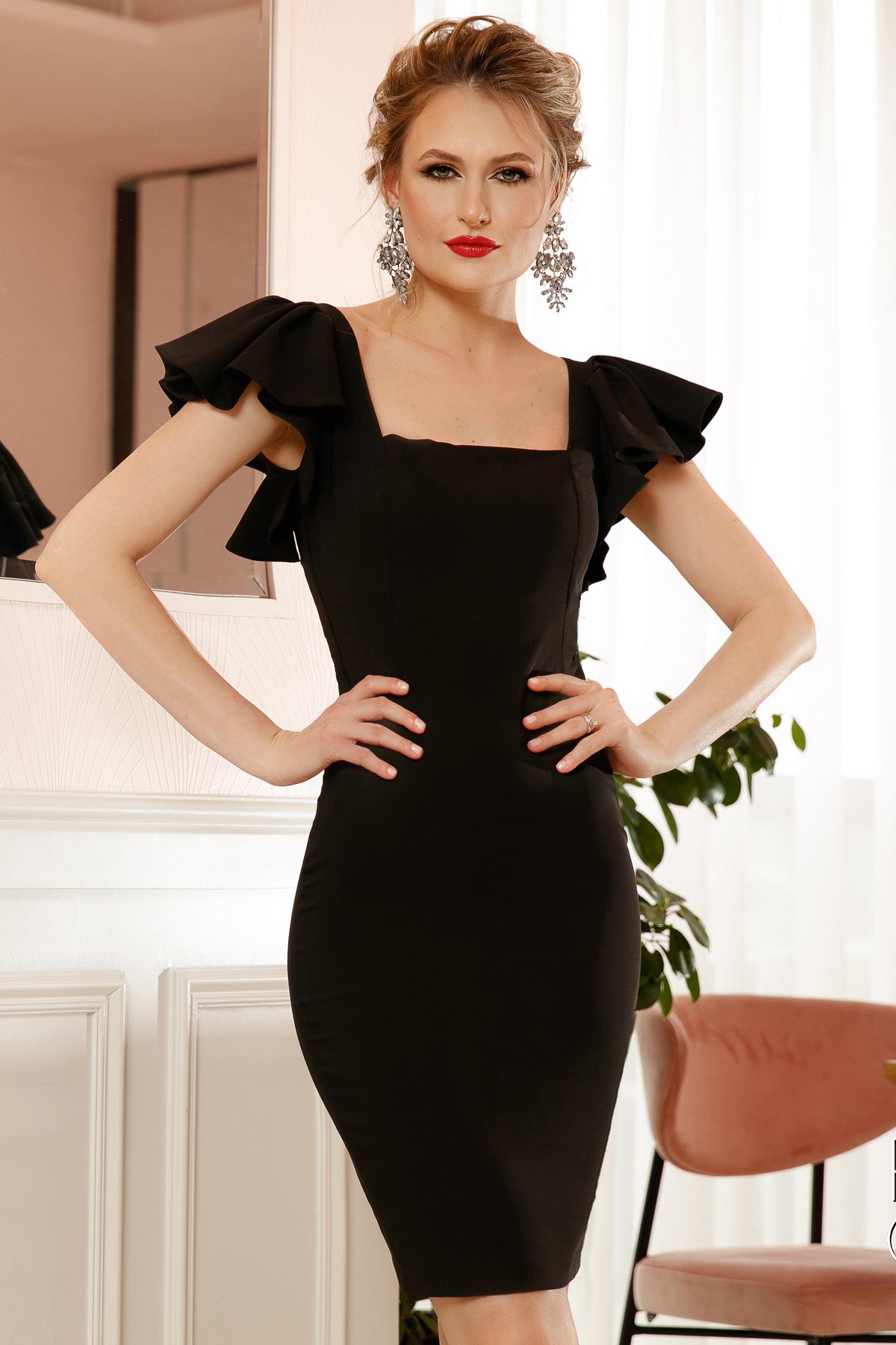Rochie PrettyGirl neagra midi eleganta tip creion cu aplicatii din dantela si paiete si volanase la maneca