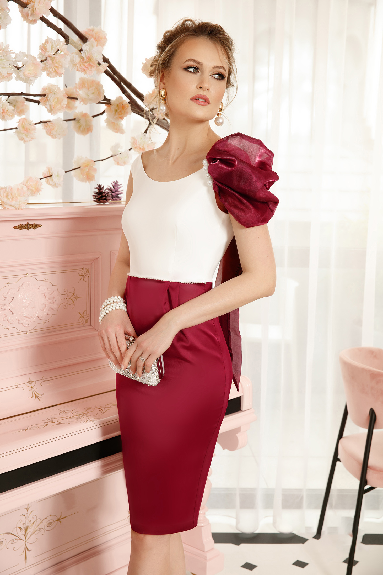 Burgundy elegant dress pencil with an accessory from satin fabric texture midi occasional