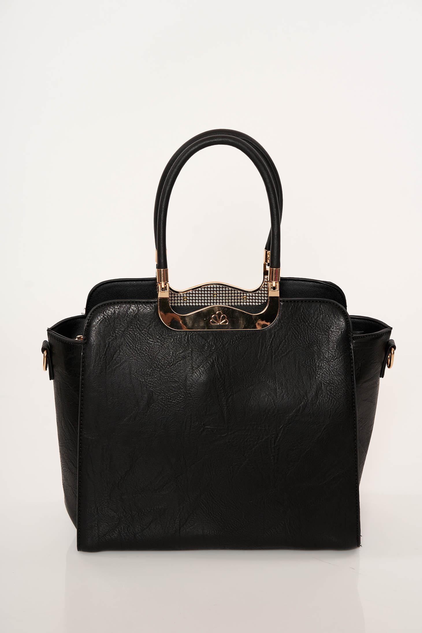 Geanta dama neagra office din piele ecologica cu manere scurte