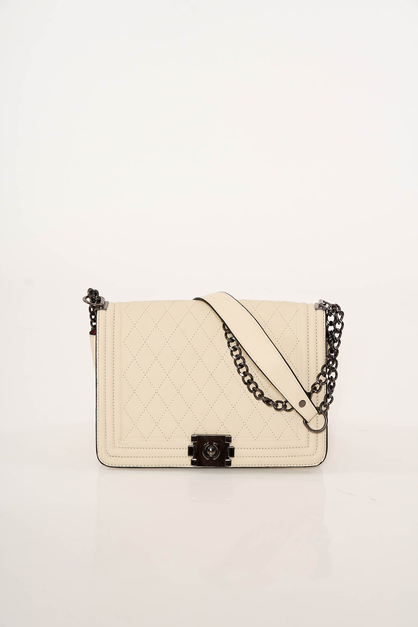 Cream casual bag from ecological leather long chain handle