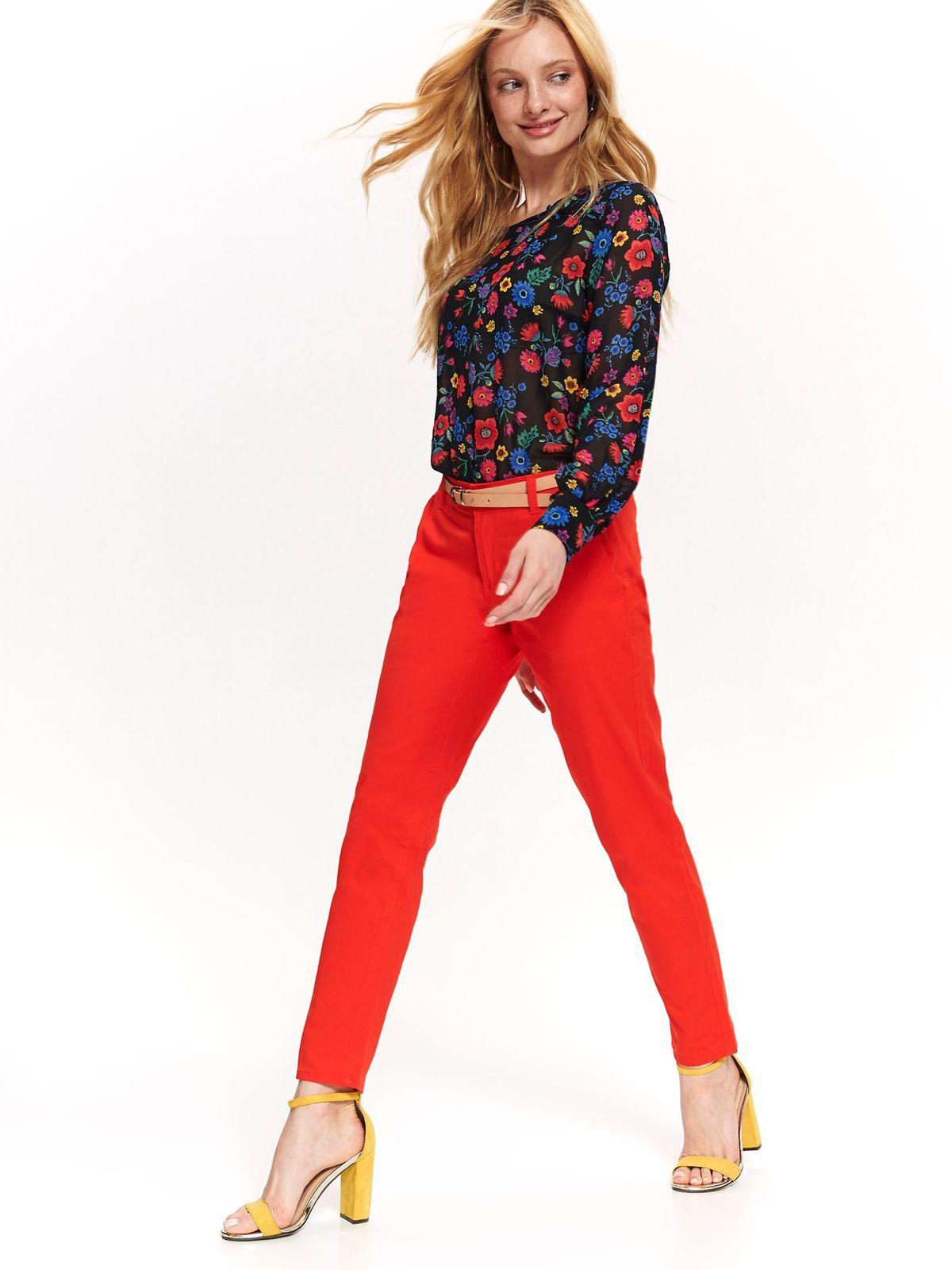 Pantaloni Top Secret rosii eleganti cu talie medie cu accesoriu tip curea