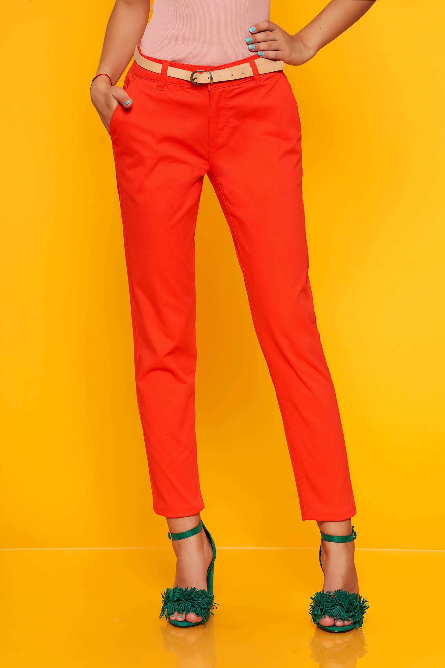 Red trousers accessorized with belt elegant medium waist