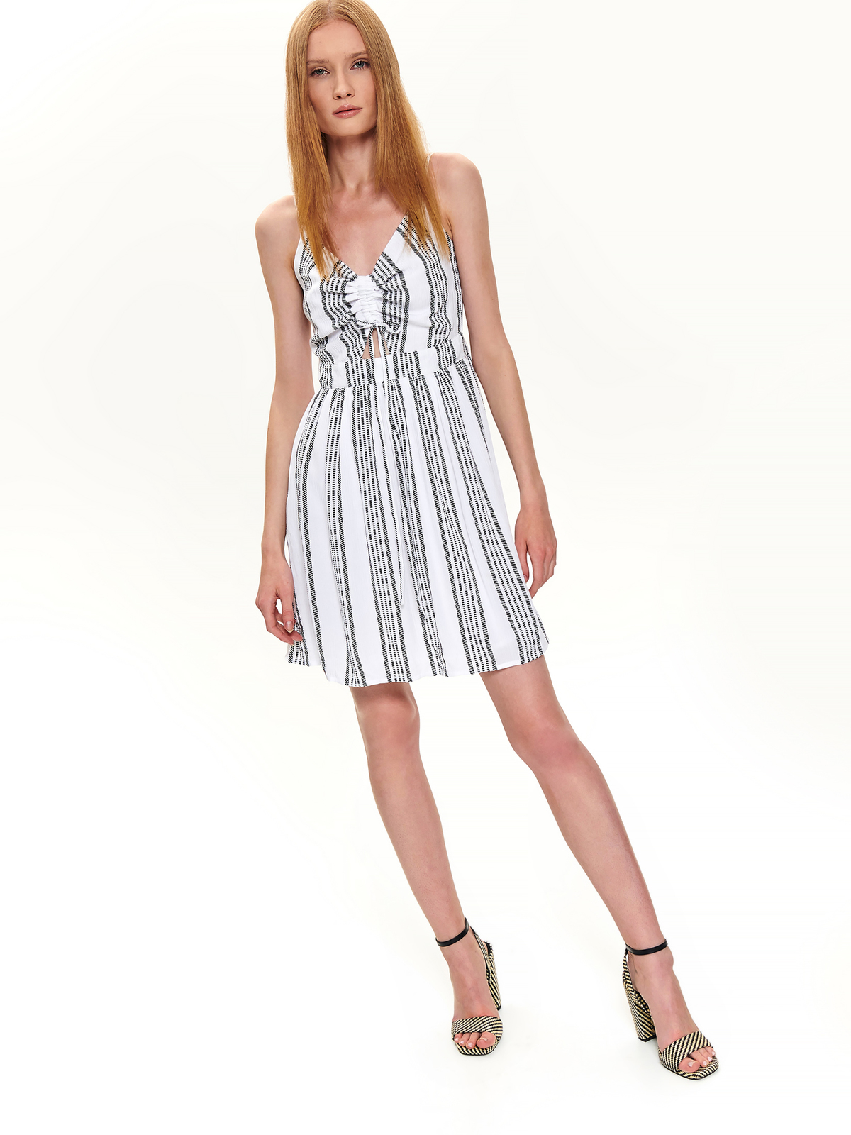 White dress daily short cut with stripes with v-neckline