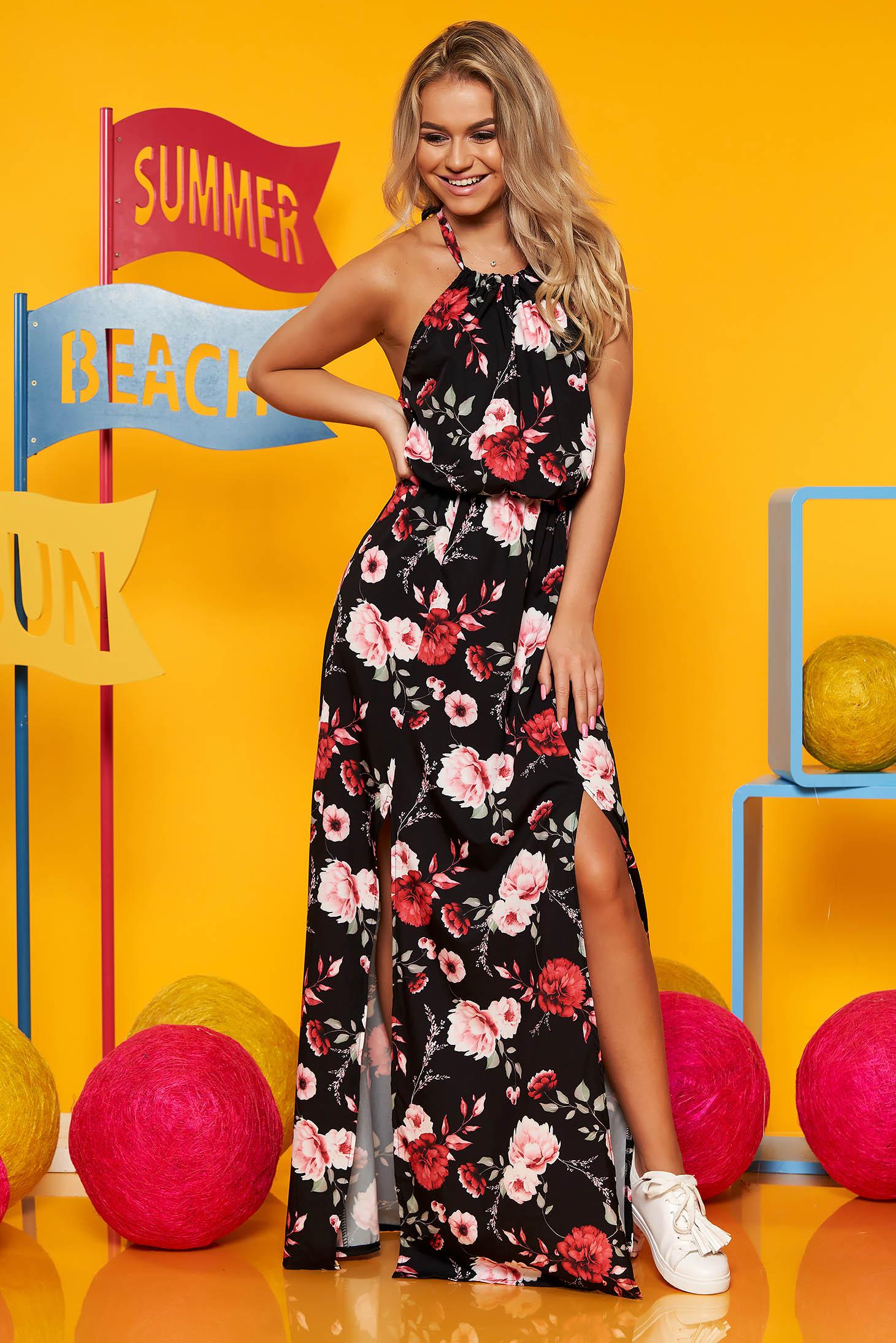 Rochie SunShine neagra lunga din voal cu imprimeu floral cu elastic in talie se leaga dupa gat