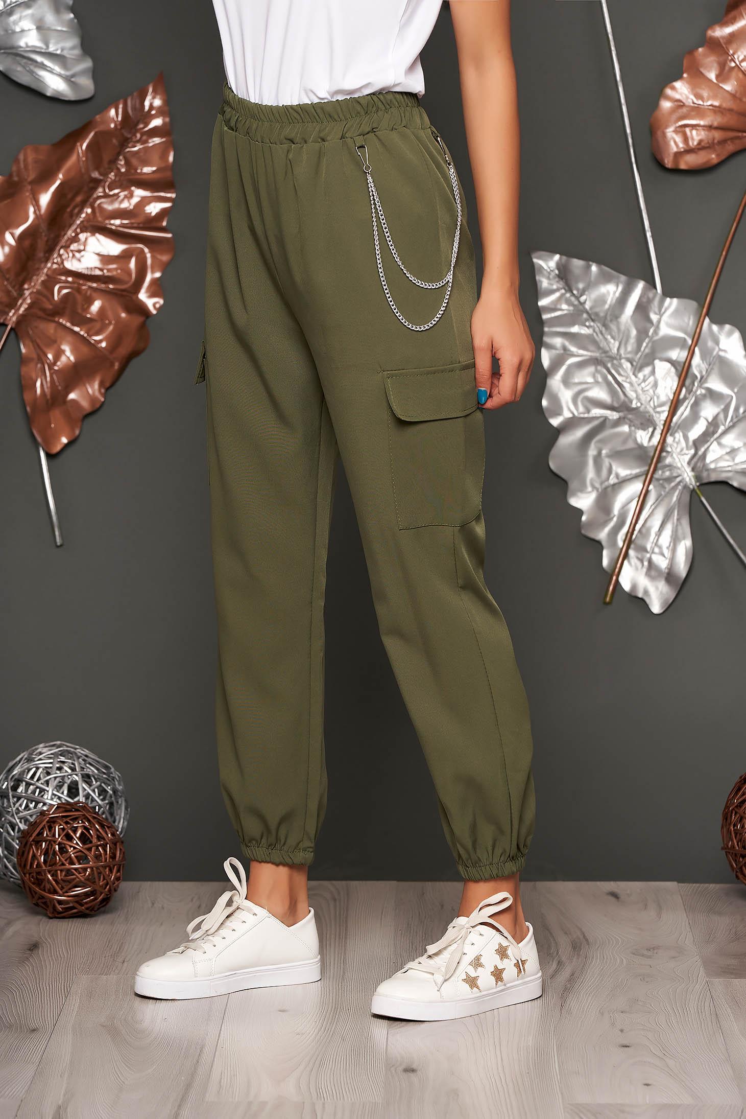 Pantaloni SunShine khaki casual cu talie inalta buzunare laterale si accesoriu inclus