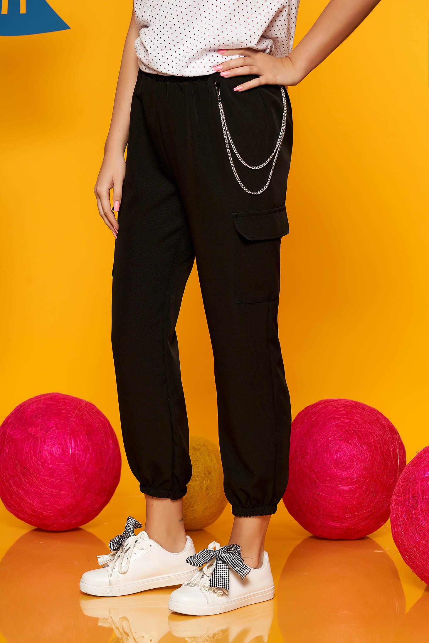 Pantaloni SunShine negri casual 3/4 cu talie inalta buzunare laterale si accesoriu inclus