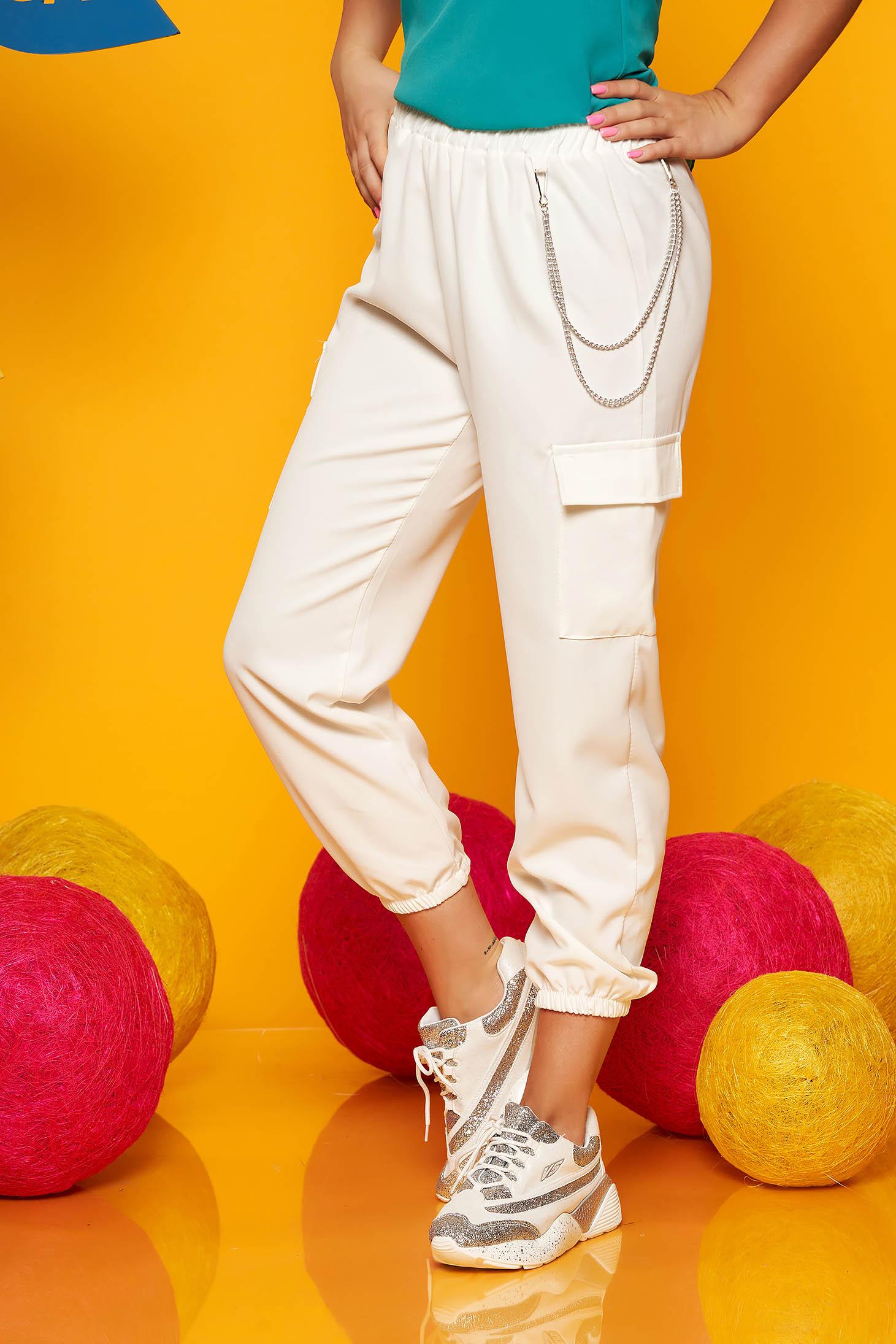 Pantaloni SunShine ivoire casual 3/4 cu talie inalta buzunare laterale cu accesoriu inclus
