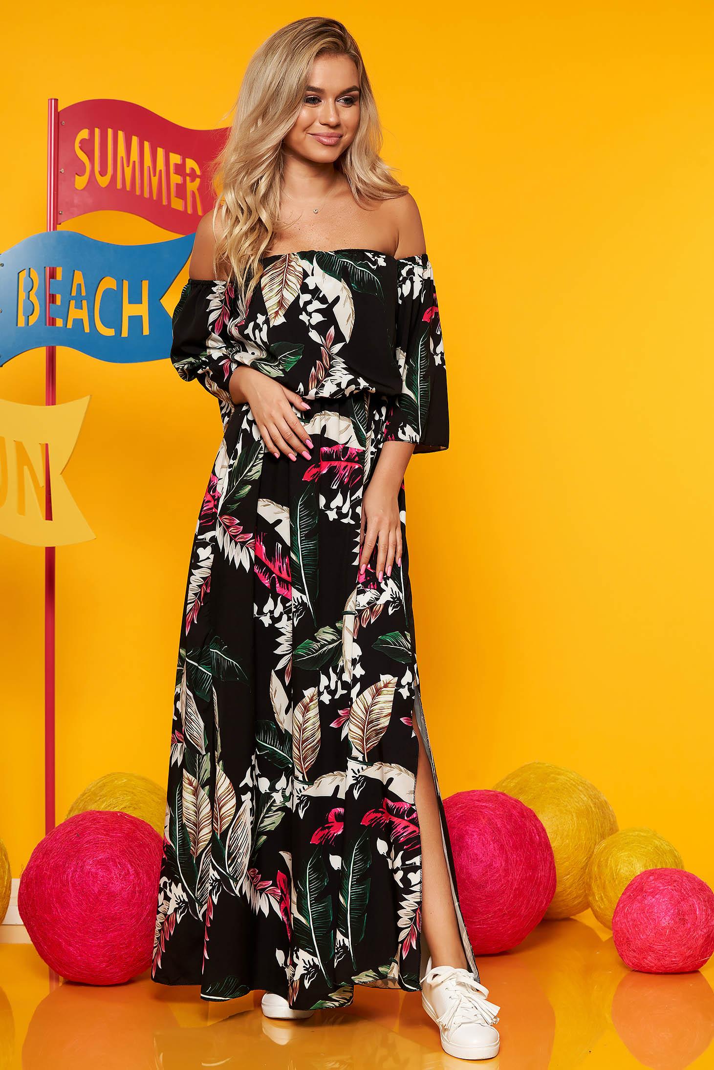 Rochie SunShine neagra maxi de zi in clos cu elastic in talie maneci largi cu imprimeu floral