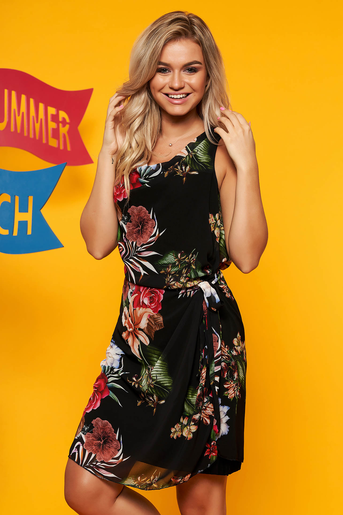 Black dress elegant daily from veil fabric accessorized with tied waistband with floral print