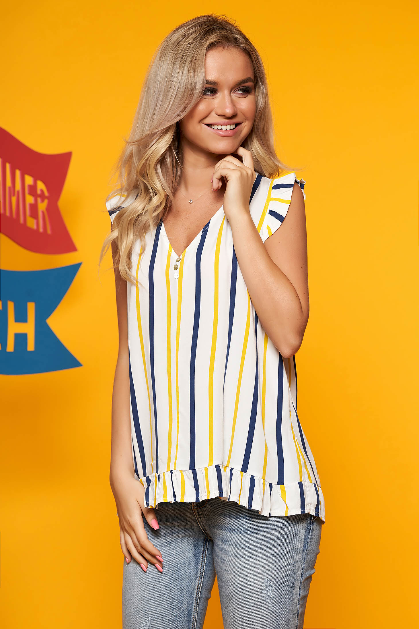 Yellow top shirt casual short cut flared with v-neckline with stripes