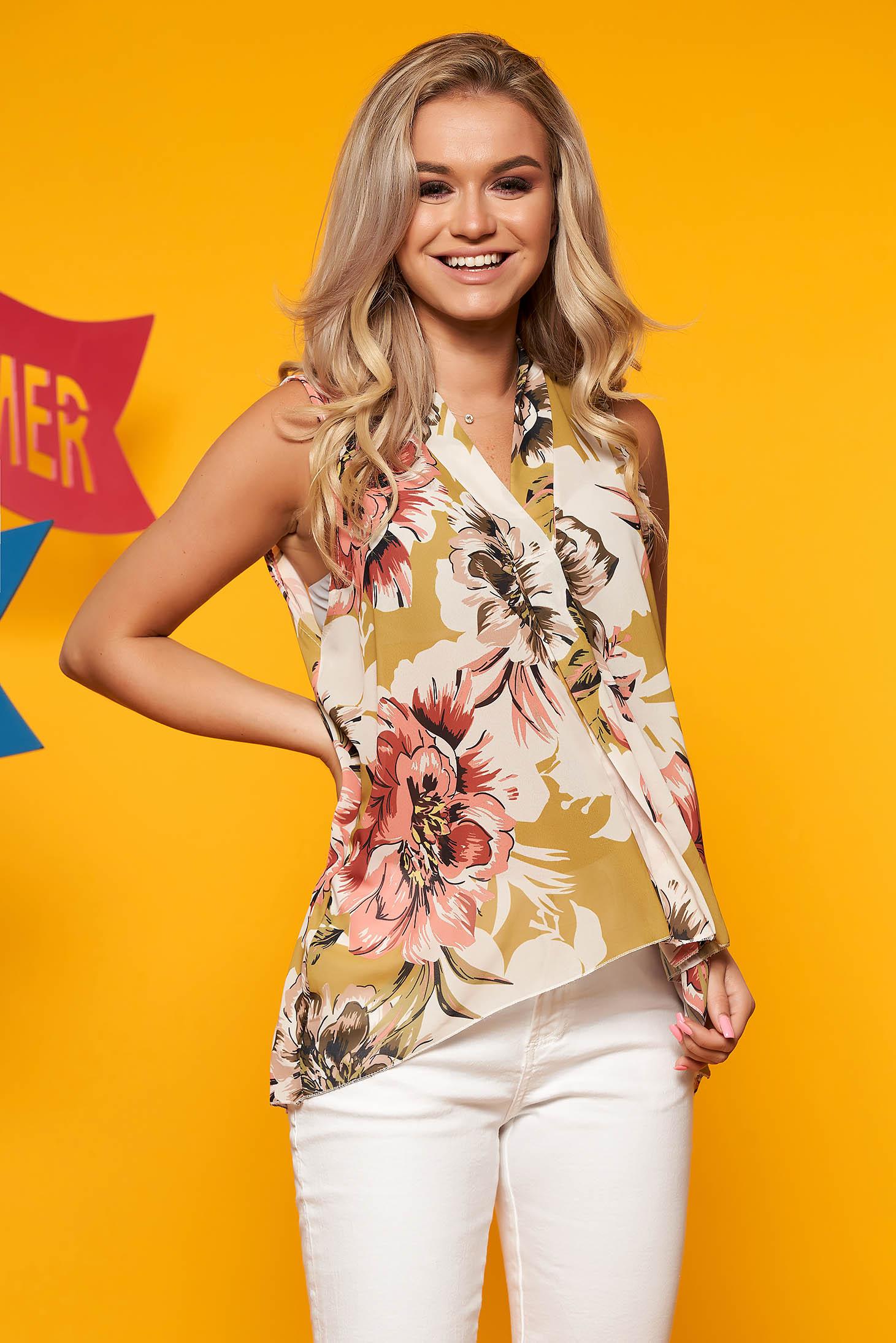 Bluza dama SunShine khaki casual asimetrica cu decolteu in v fara maneci cu imprimeu floral