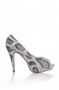 Snake Print Grey Shoes