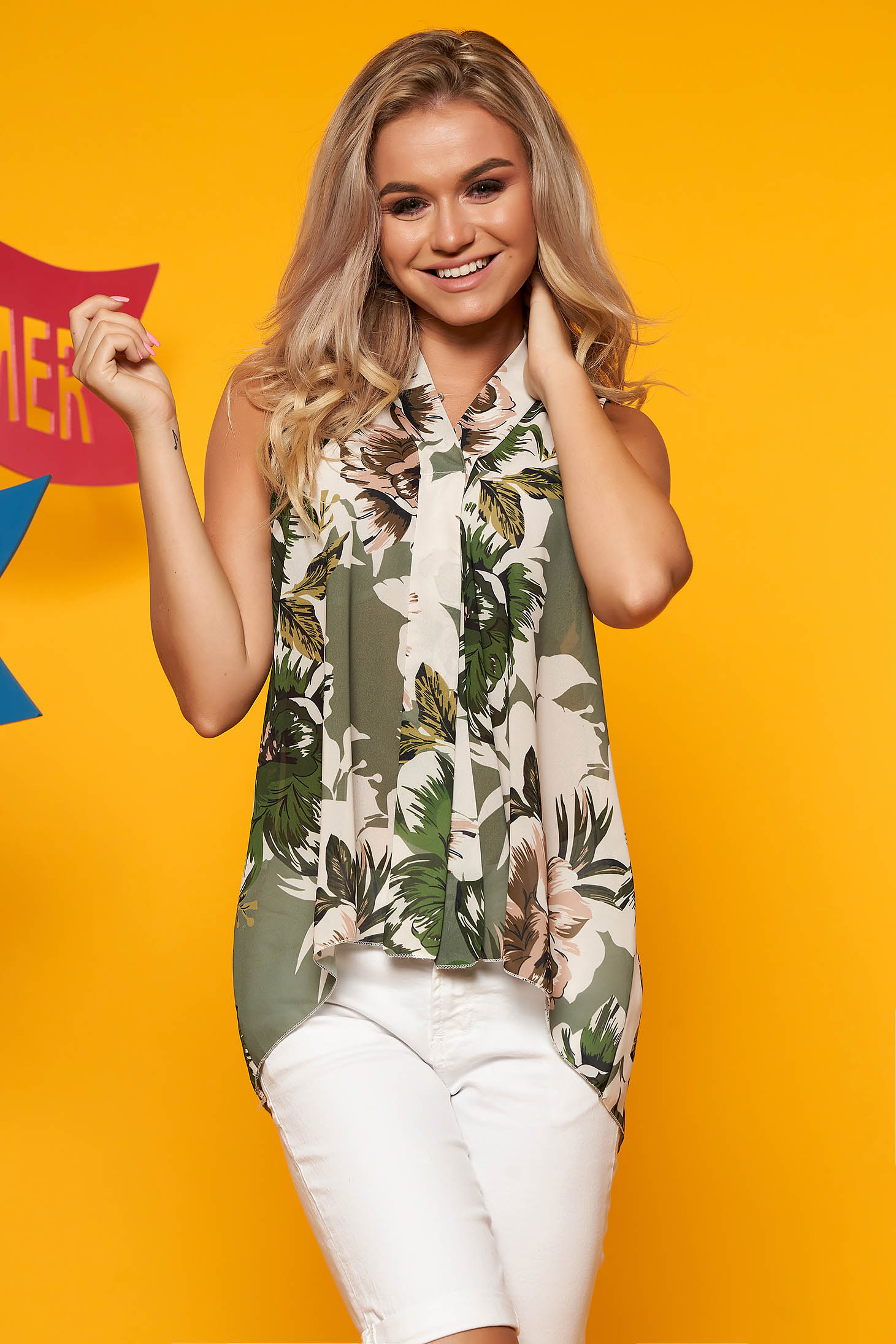 Darkgreen women`s blouse casual with v-neckline sleeveless asymmetrical with floral print