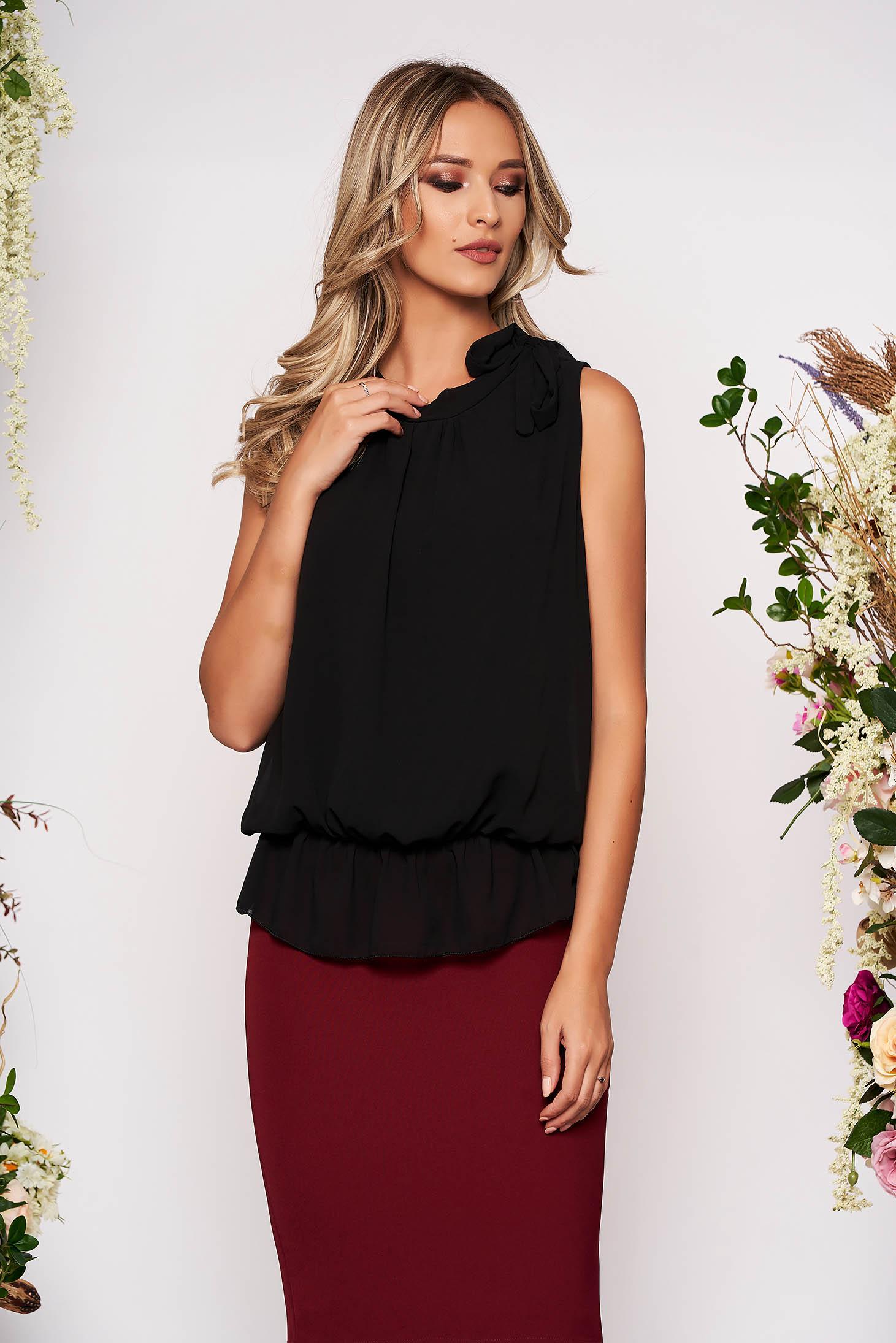 Black top shirt elegant from veil fabric with elastic waist sleeveless