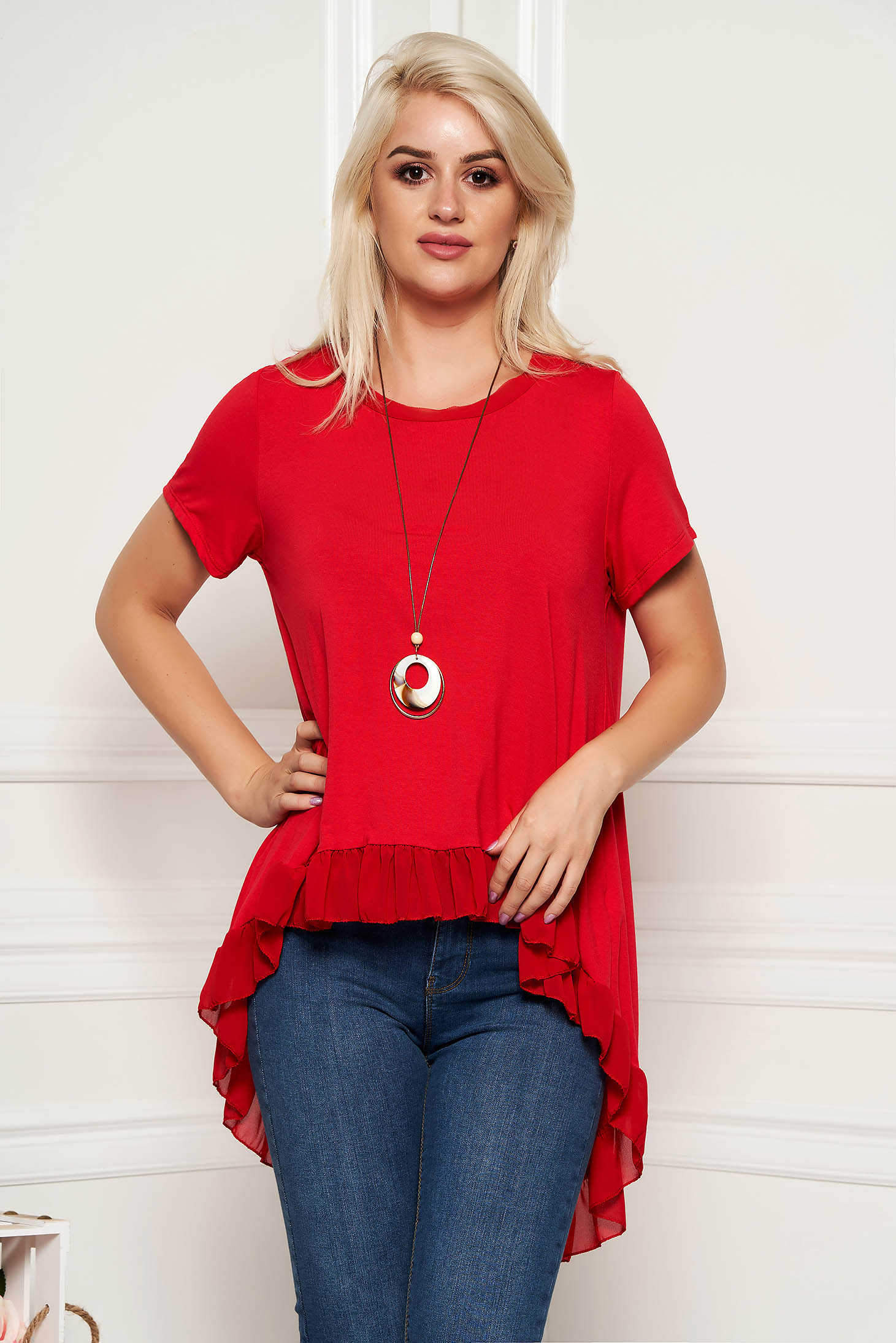 Piros aszimetrikus bő szabású casual női blúz fodrokkal