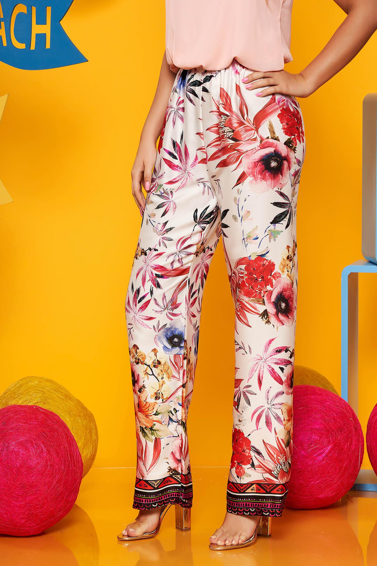 Pantaloni SunShine albi casual material subtire cu talie inalta cu imprimeu floral