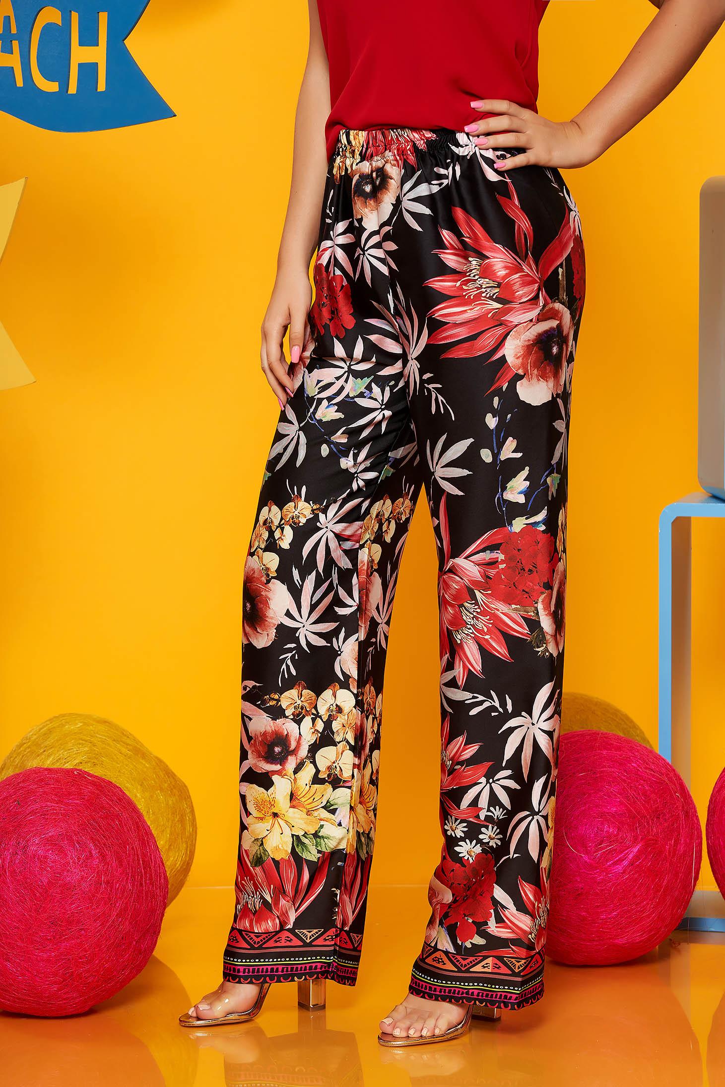 Pantaloni SunShine negri casual din material subtire cu talie inalta si imprimeu floral