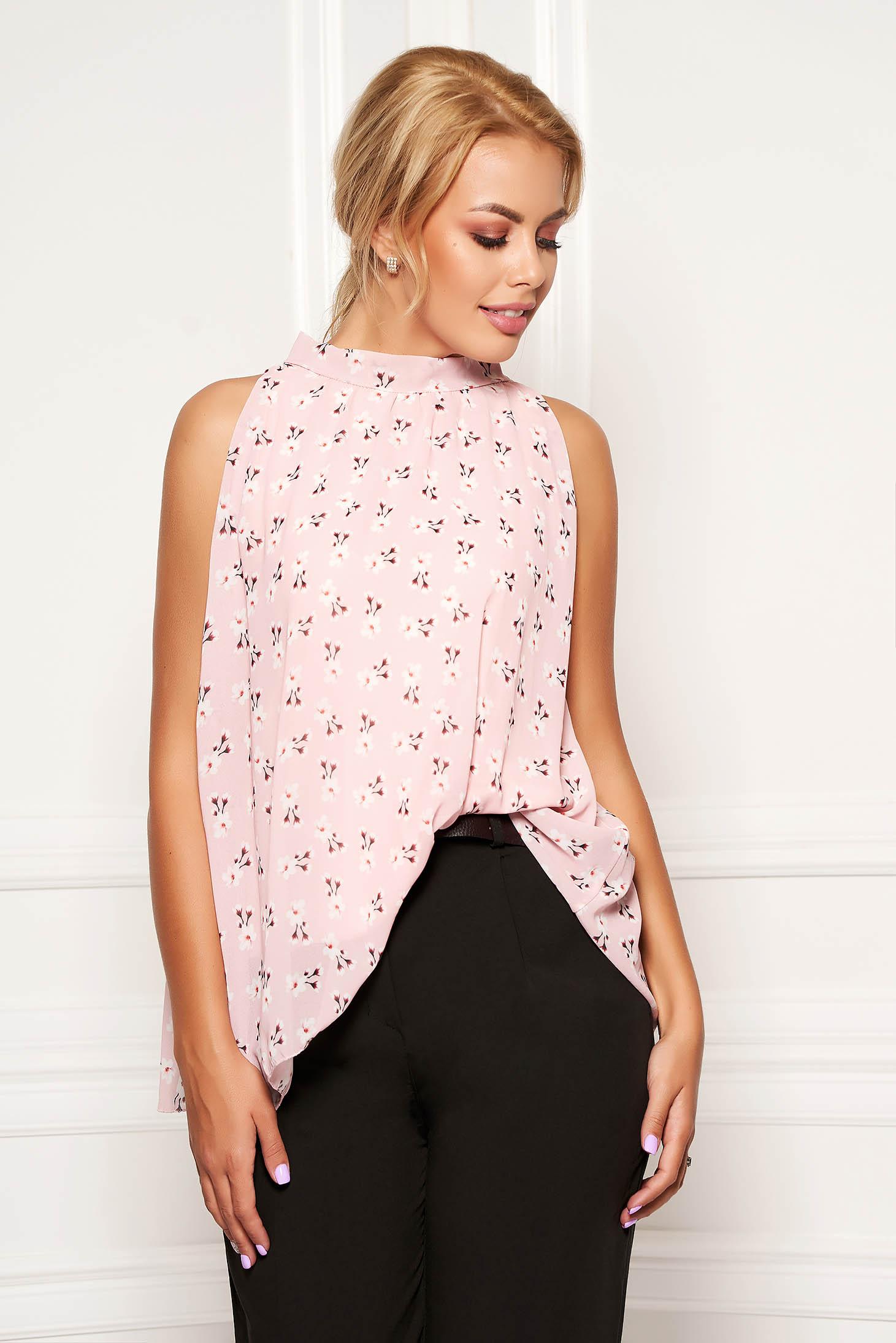 Top SunShine roz prafuit casual din voal cu imprimeu floral fara maneci