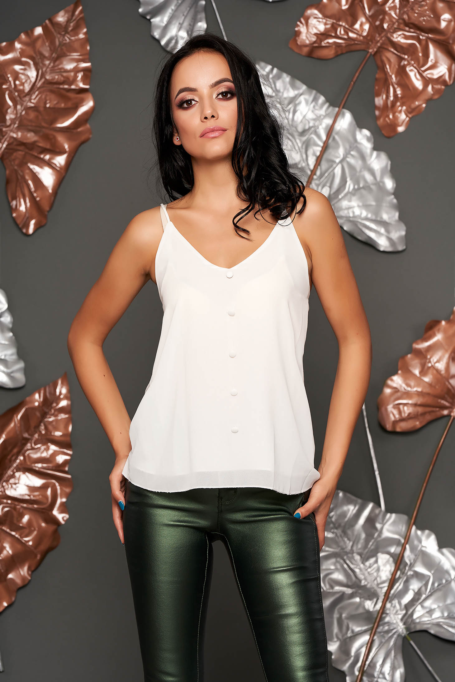 White top shirt casual flared from veil fabric with straps