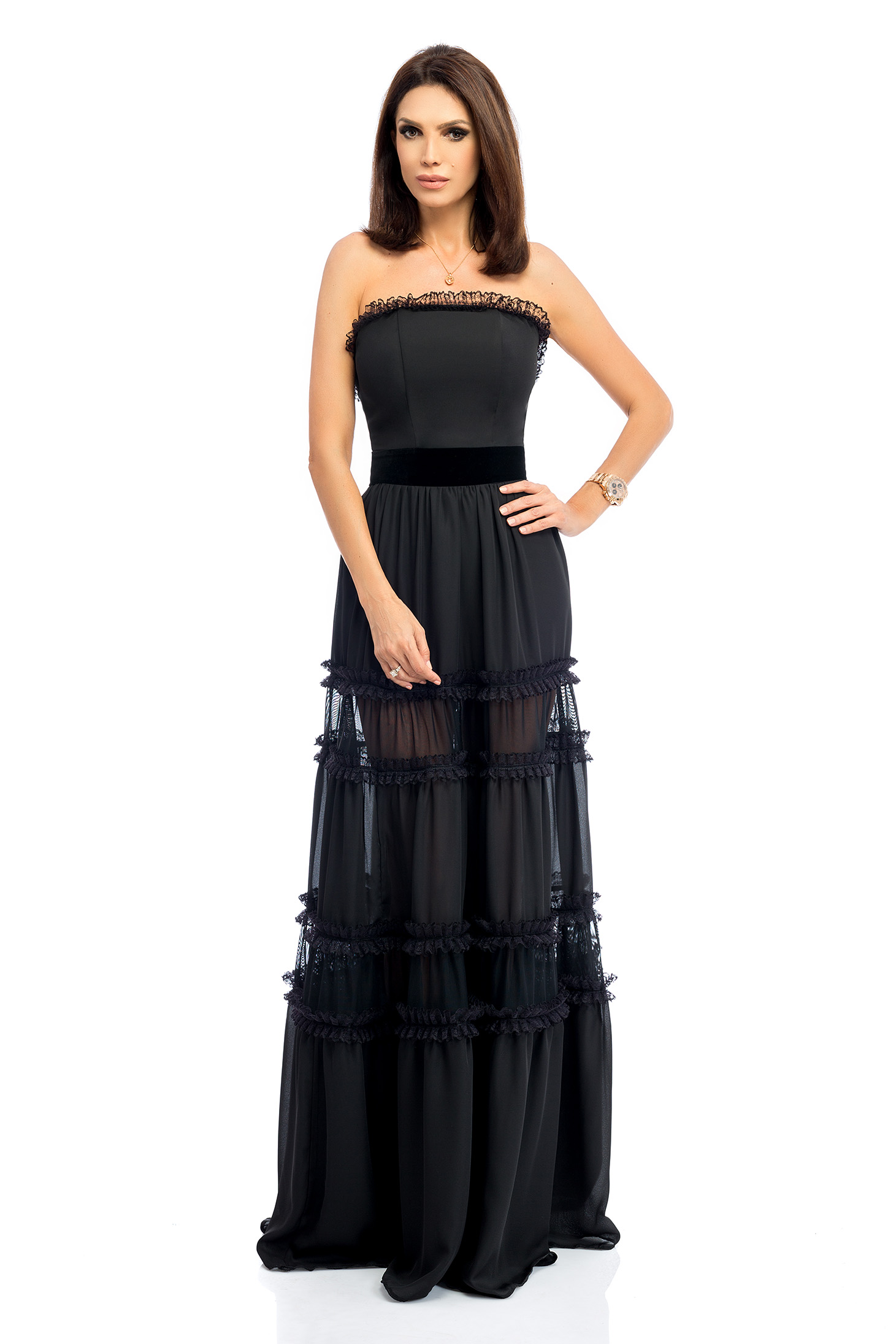 Rochie neagra maxi eleganta de ocazie in clos tip corset