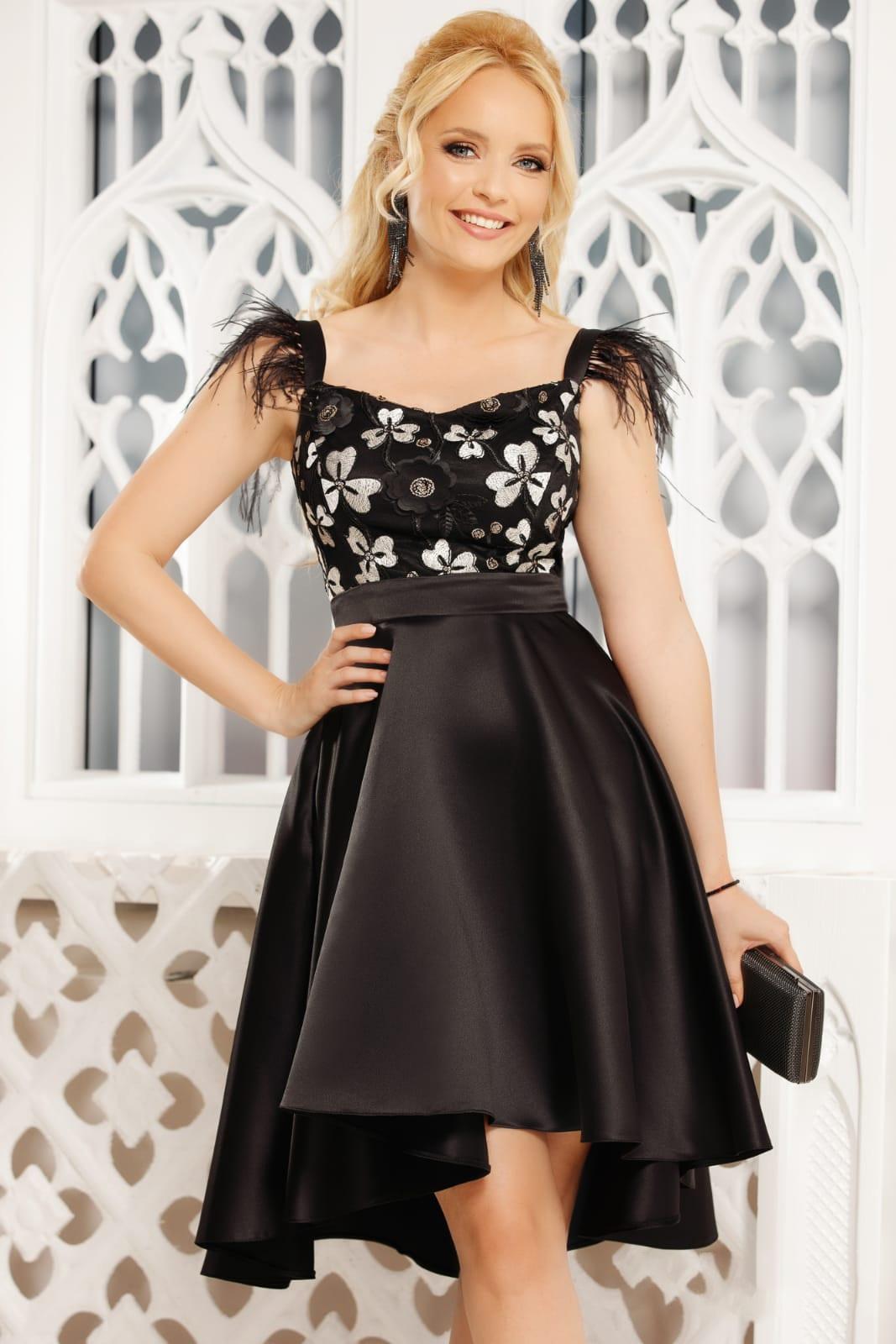 Black dress occasional elegant asymmetrical cloche from satin sleeveless