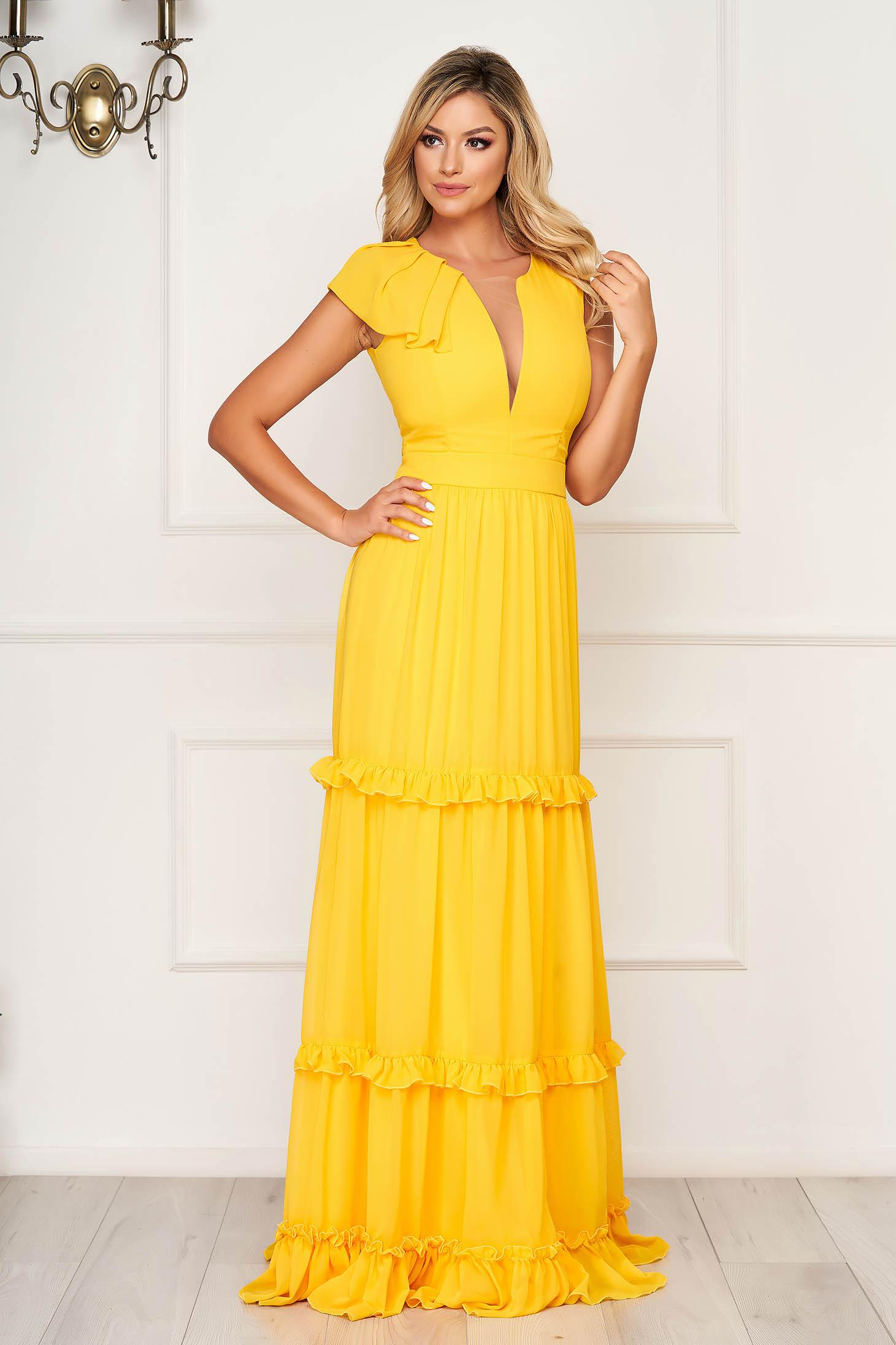 Sárga fodros ruha v-dekoltázzsal muszlinból